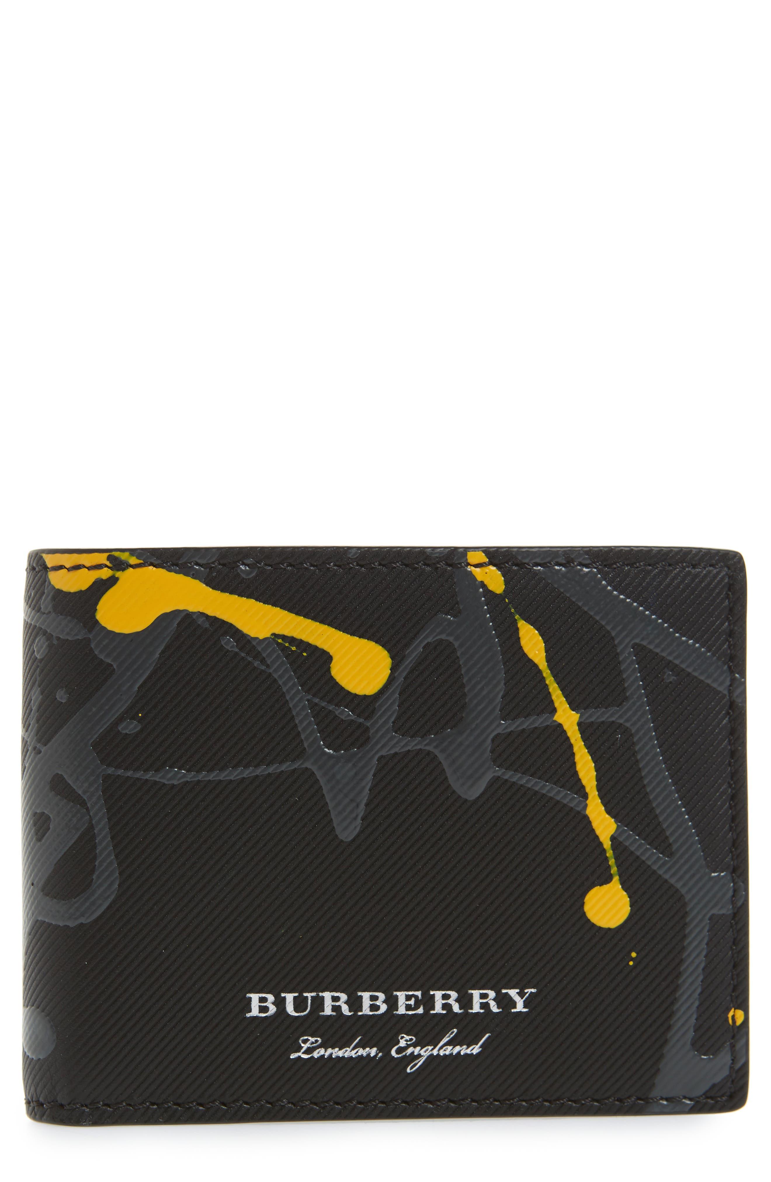 Trench Splash Leather Wallet,                             Main thumbnail 1, color,                             Black/ Splash