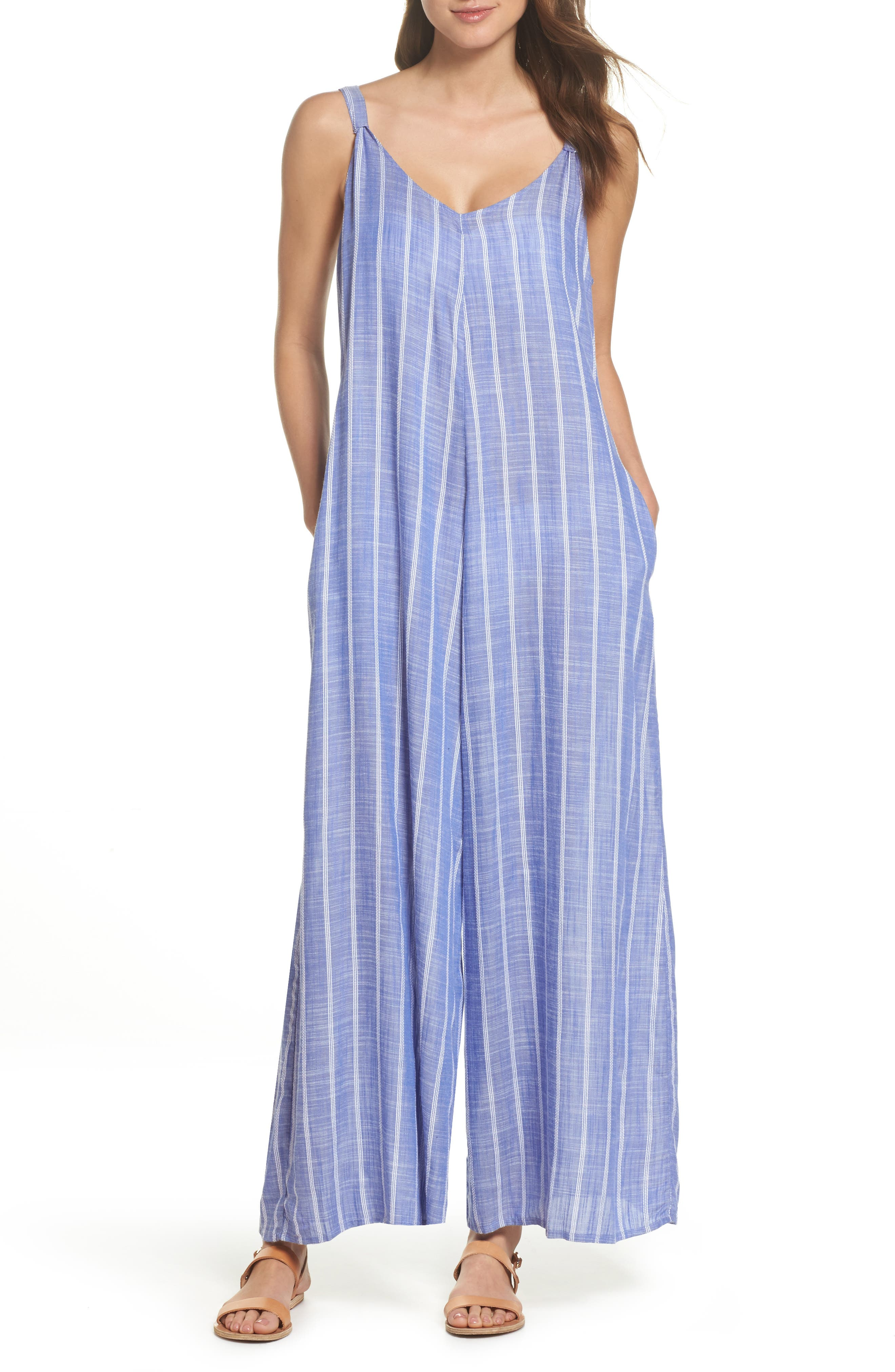 Cover-Up Jumpsuit,                             Main thumbnail 1, color,                             Blue Stripe (Chambray)