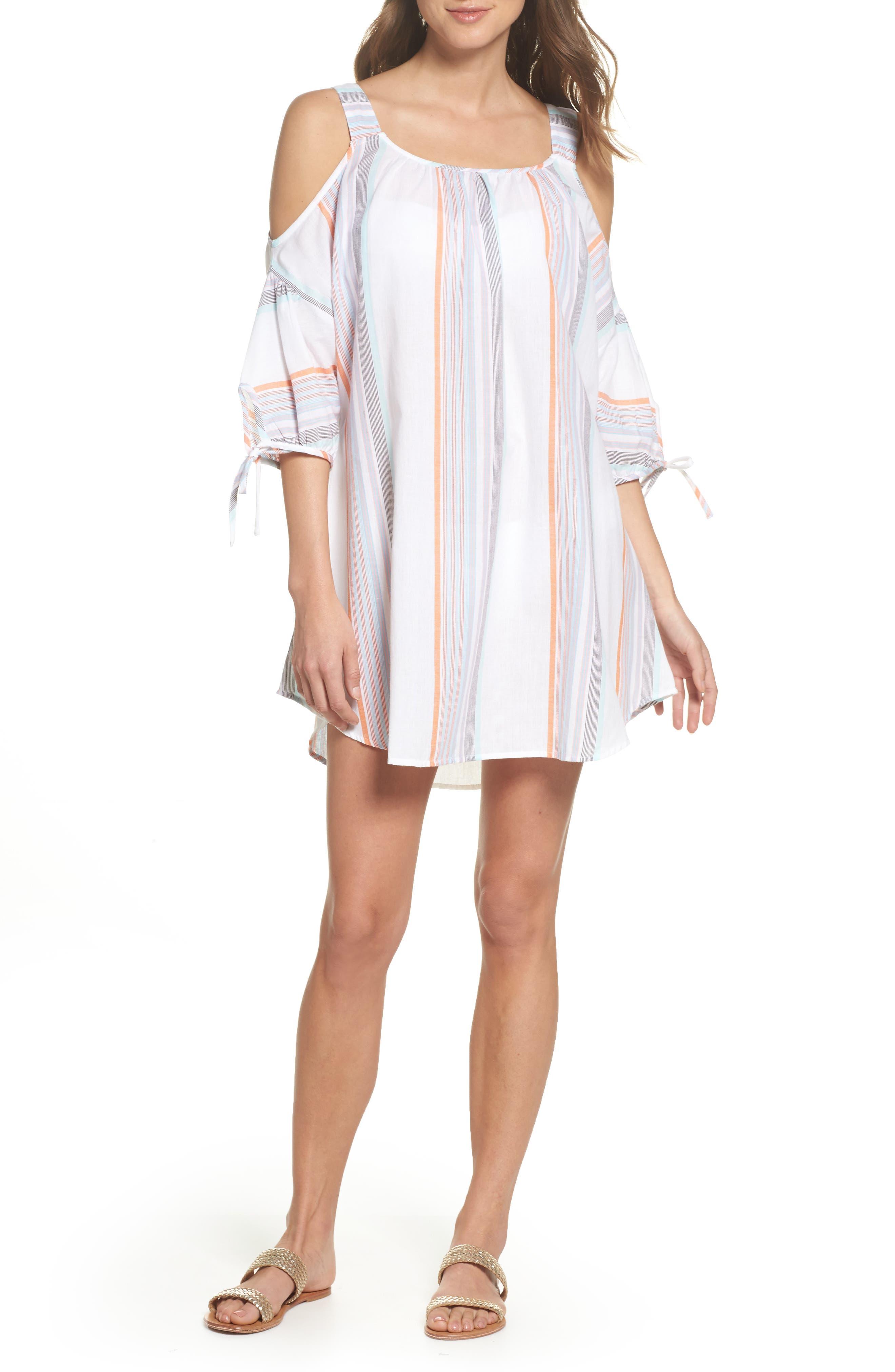Sunset Stripe Cold Shoulder Cover-Up Dress,                         Main,                         color, White