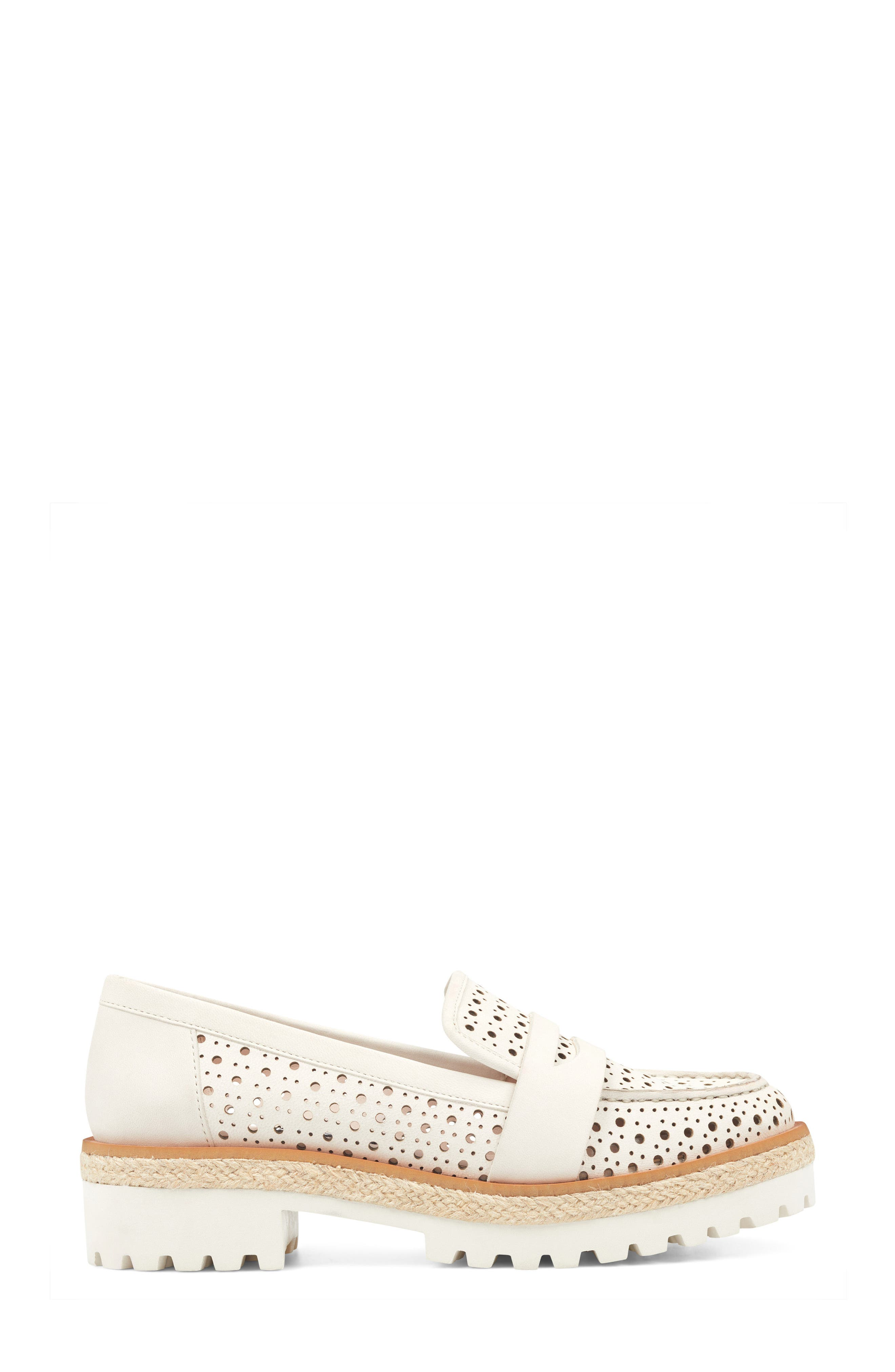 Gradskool Perforated Penny Loafer,                             Alternate thumbnail 3, color,                             Off White Leather