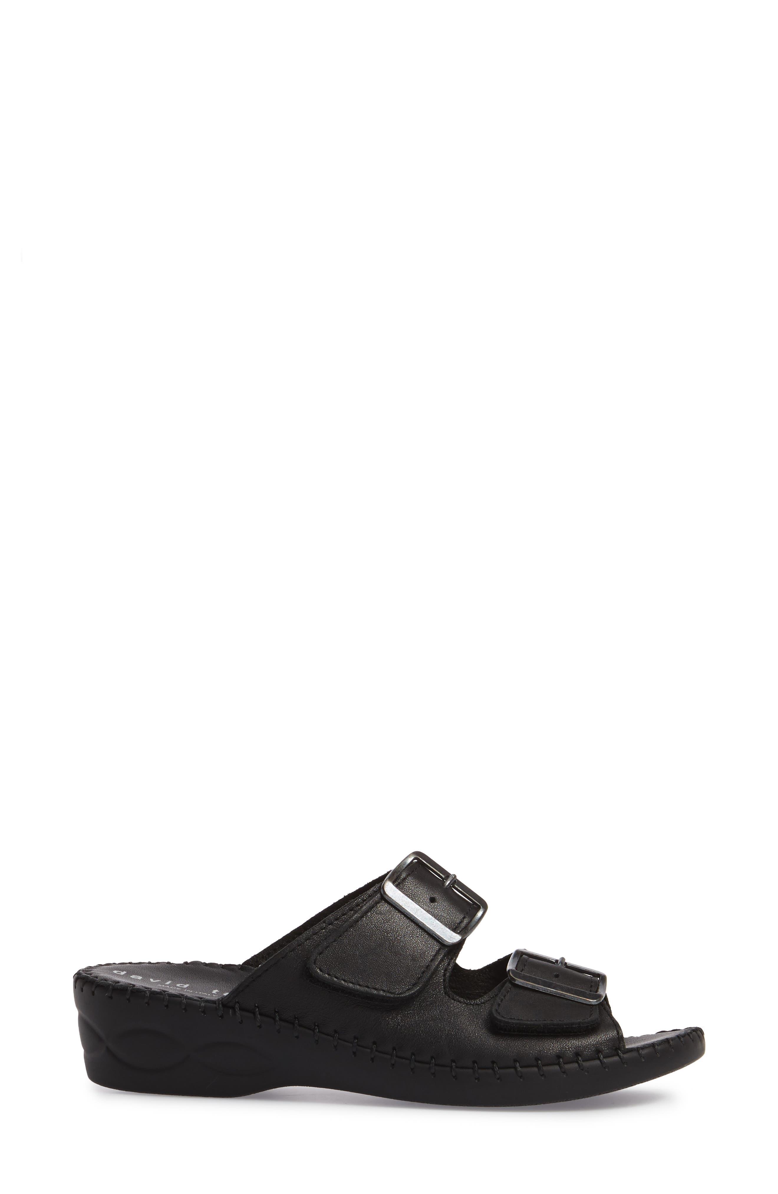 Sol Sandal,                             Alternate thumbnail 3, color,                             Black Leather