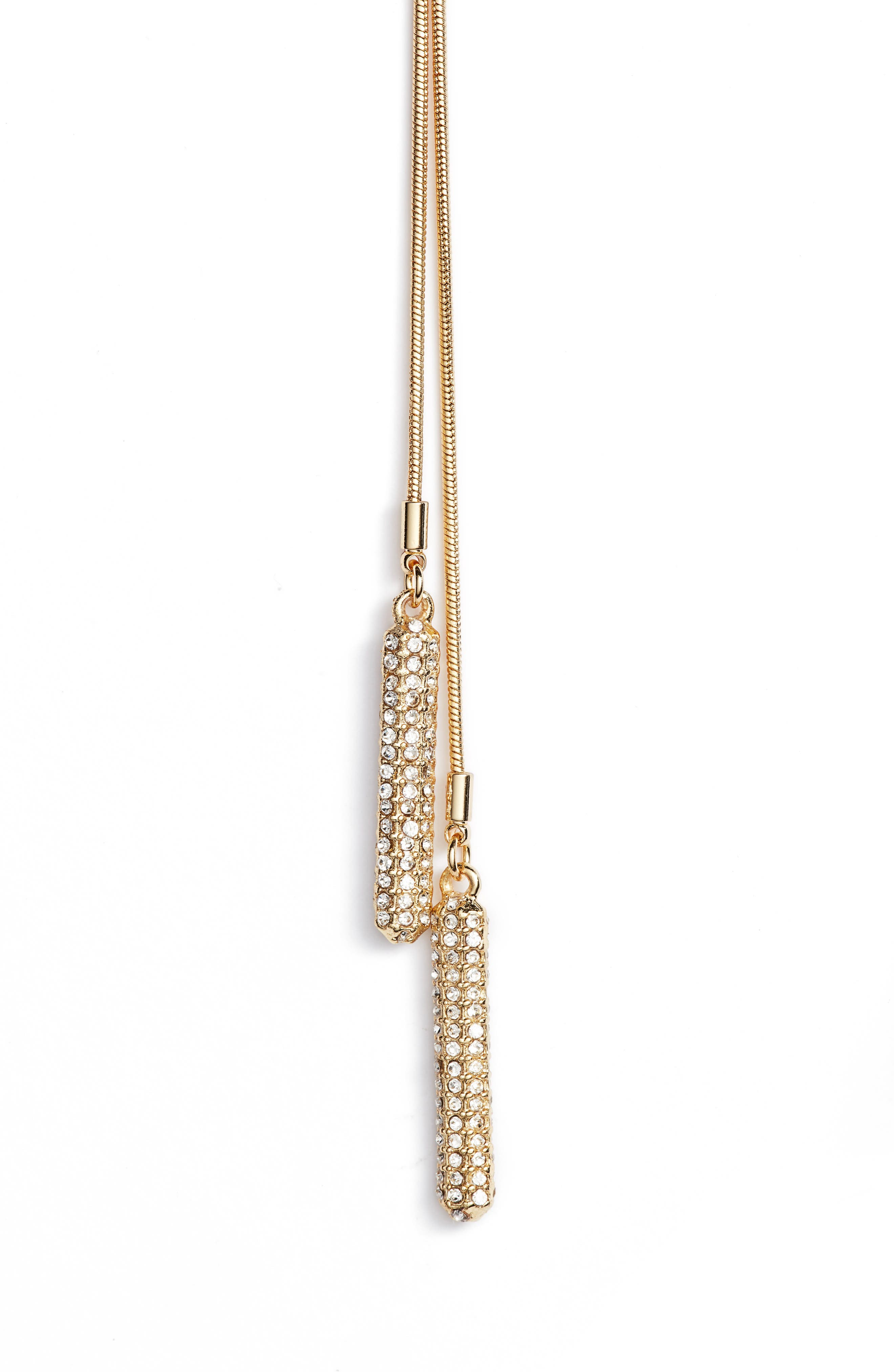 Pavé Twisted Lariat Necklace,                             Alternate thumbnail 2, color,                             Gold
