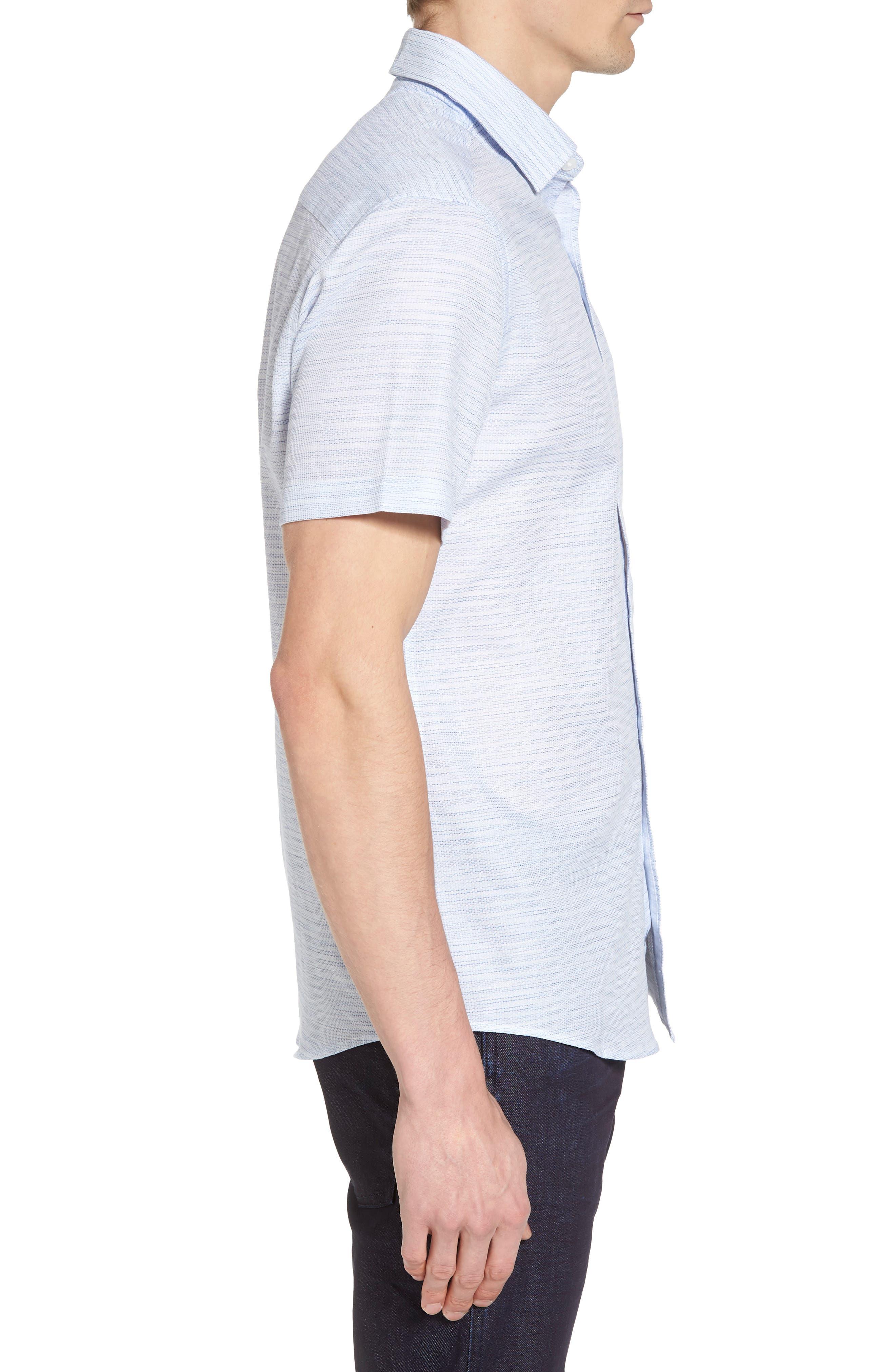 Slim Fit Stripe Short Sleeve Sport Shirt,                             Alternate thumbnail 3, color,                             Light/ Pastel Blue Dobby