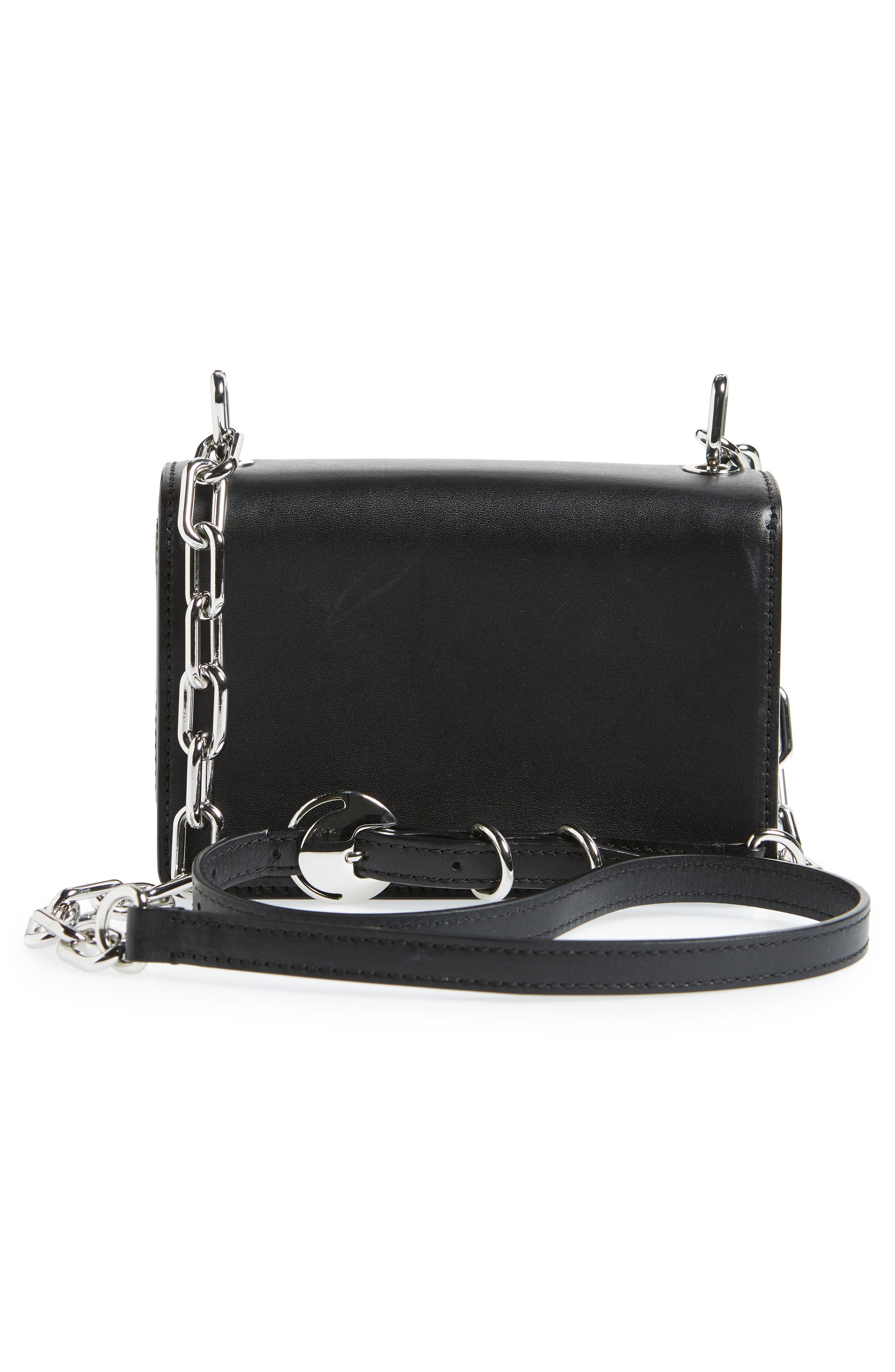 Hook Small Leather Crossbody Bag,                             Alternate thumbnail 3, color,                             Black