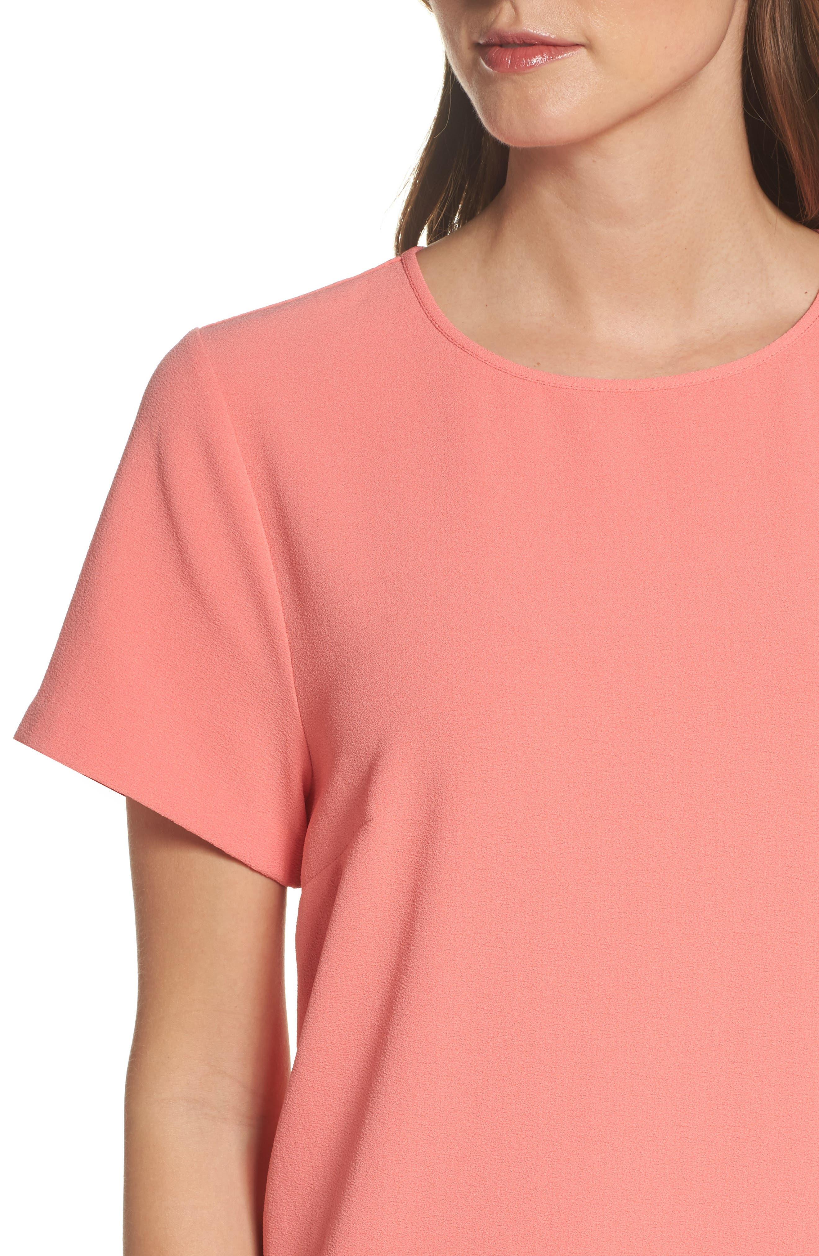 Devery Crepe Shift Dress,                             Alternate thumbnail 4, color,                             Sugar Coral