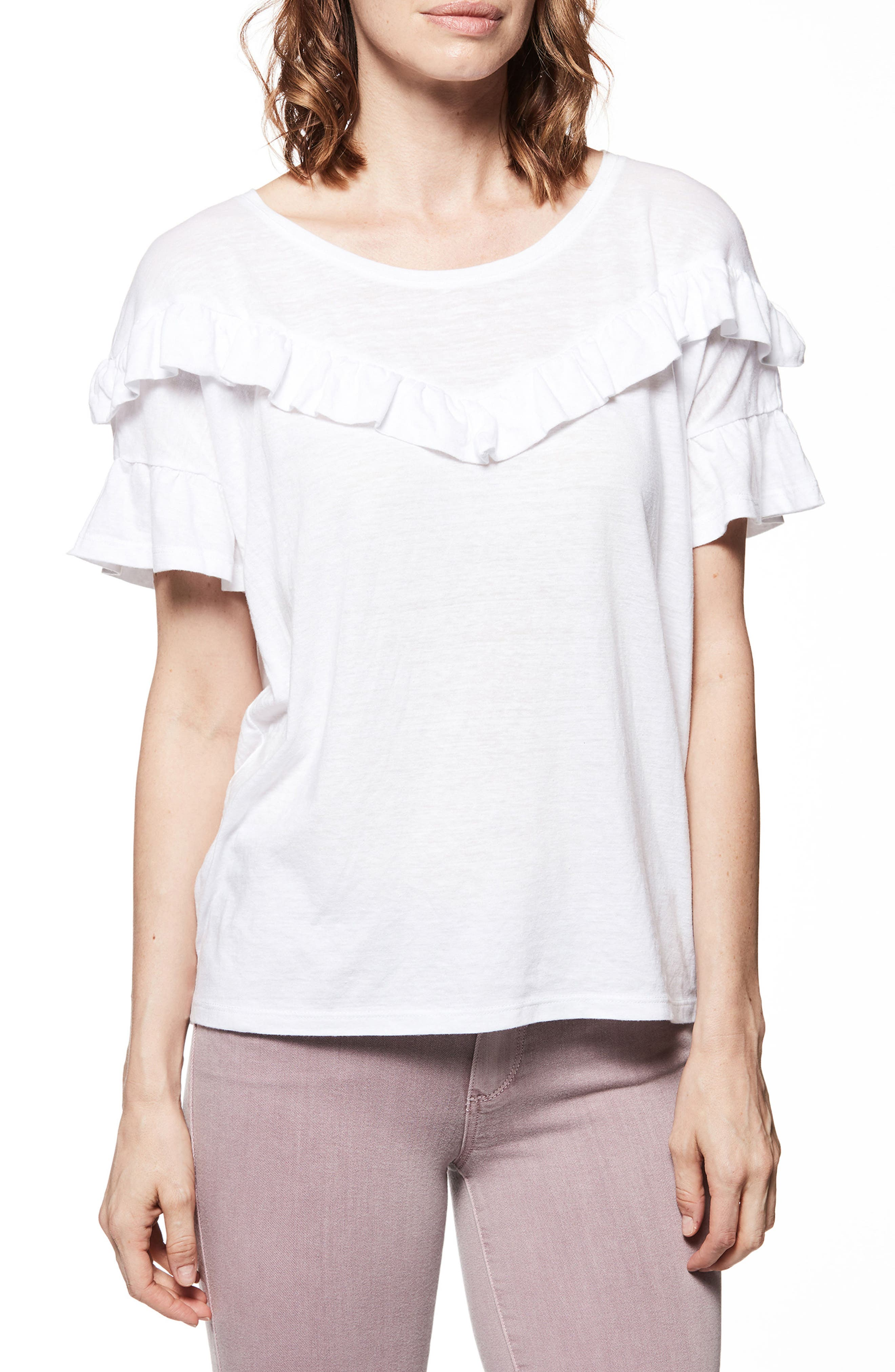 Adalie Ruffle Tee,                         Main,                         color, White
