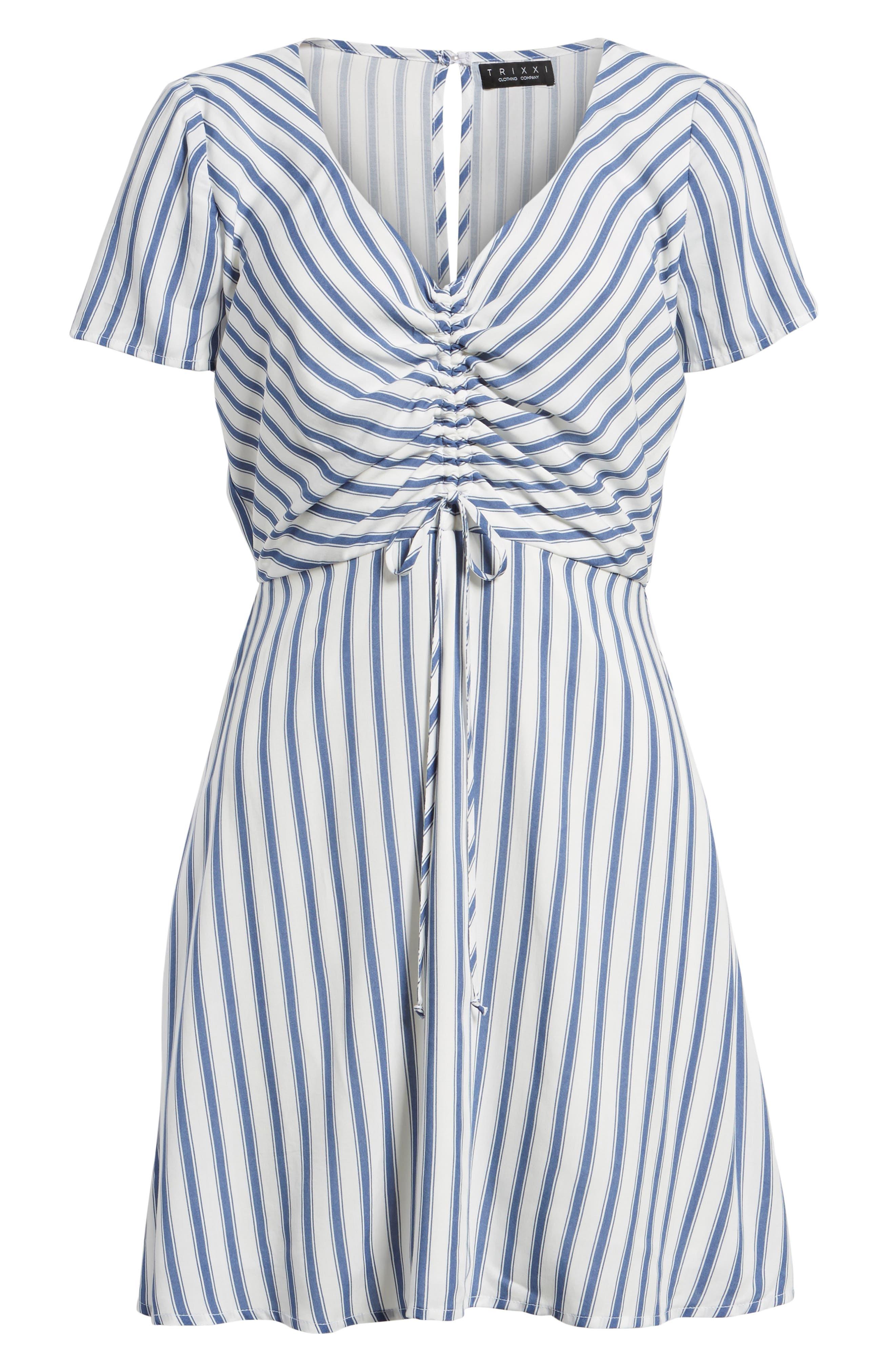 Cinch Front Minidress,                             Alternate thumbnail 6, color,                             Blue/ White Stripe