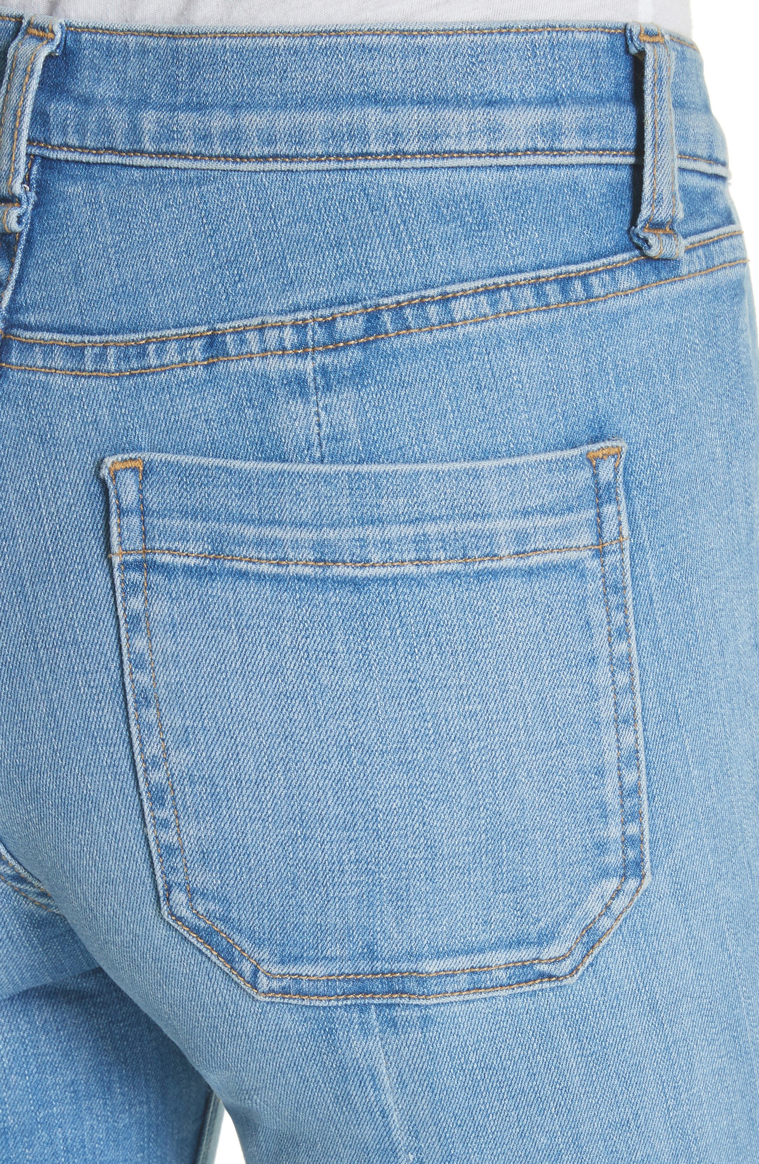 Carolyn Crop Baby Boot Jeans,                             Alternate thumbnail 4, color,                             Ocean Blue