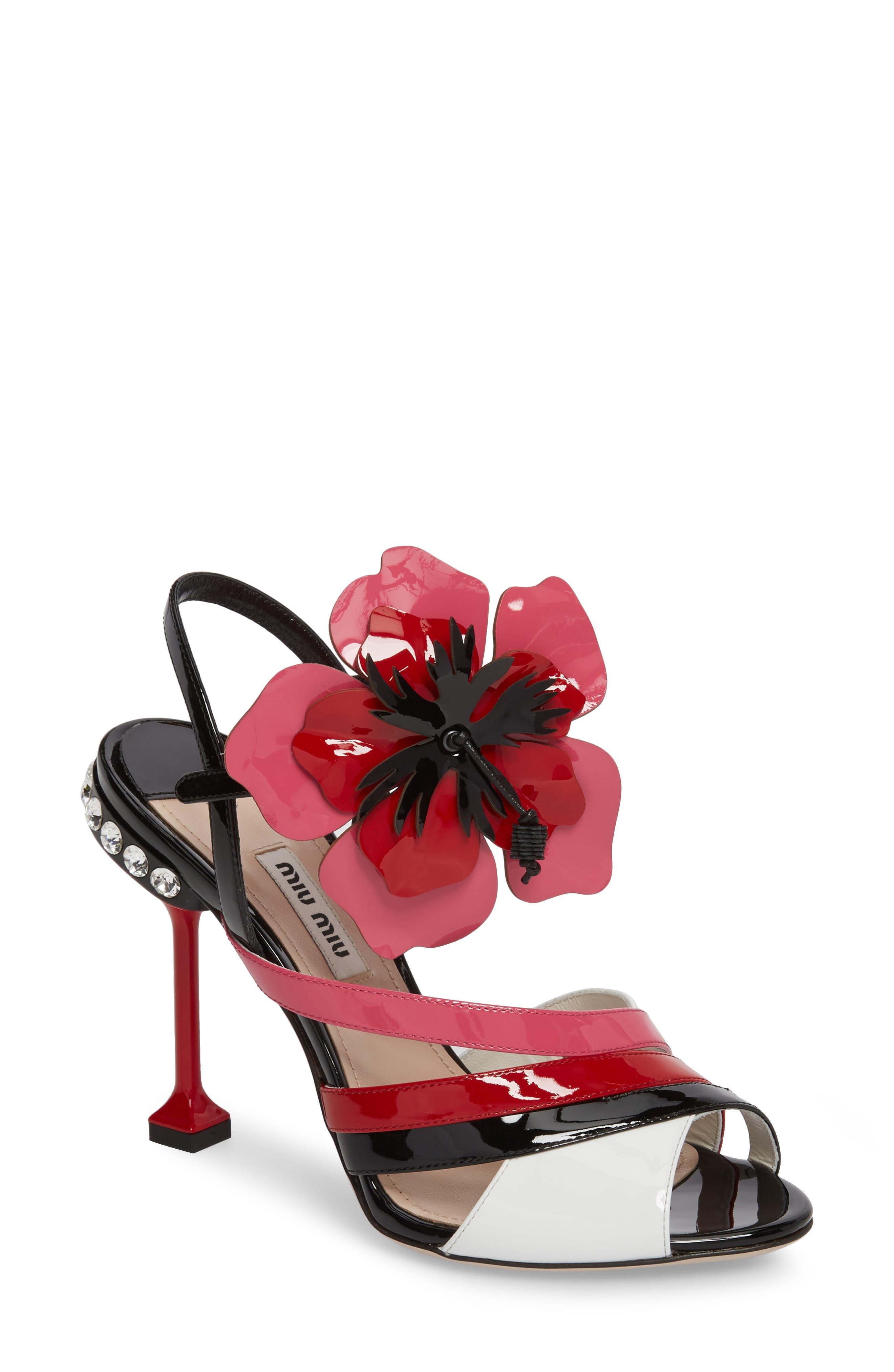 Miu Miu Flower Appliqué Sandal (Women)