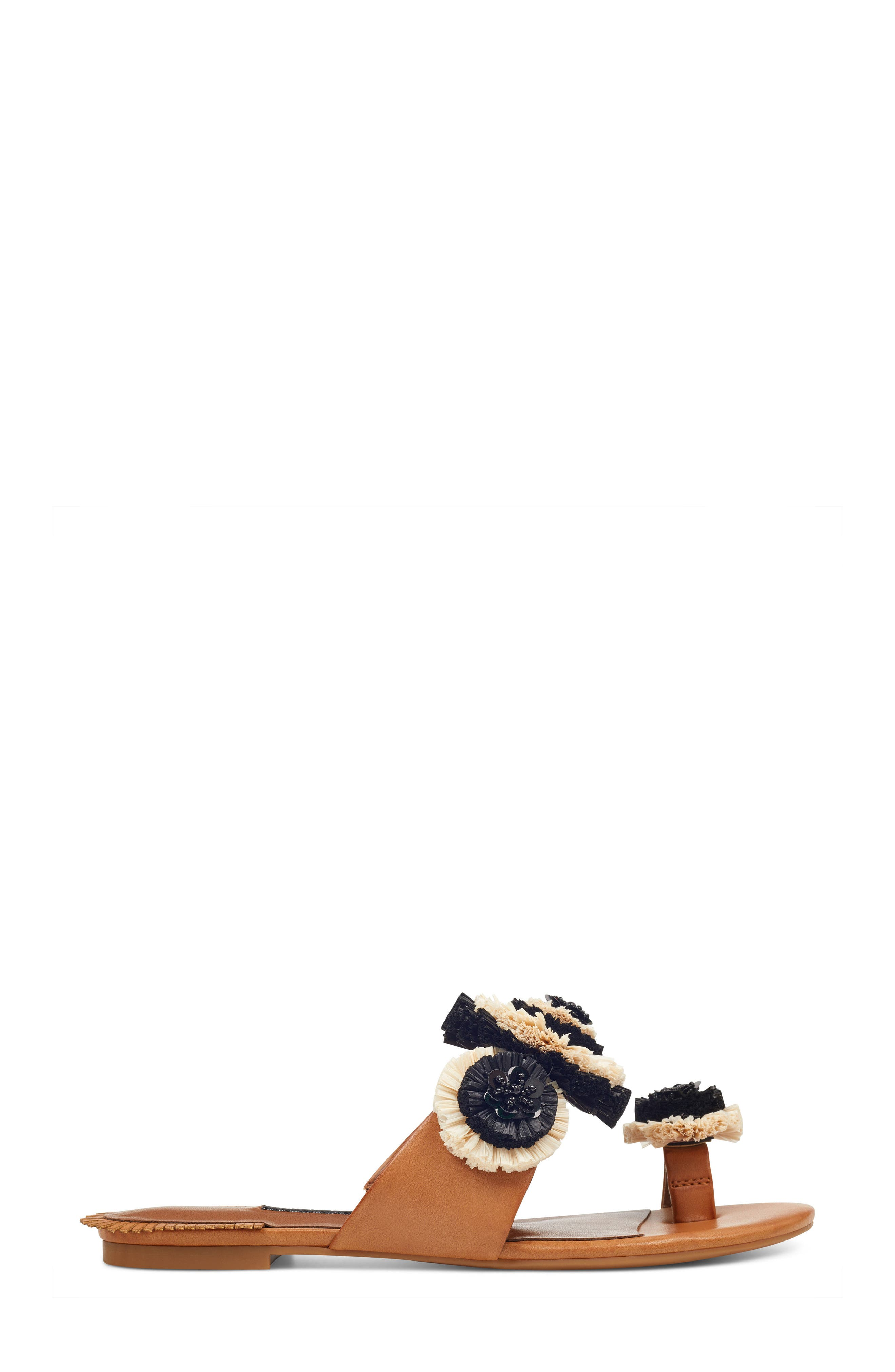Sendran Raffia Flower Sandal,                             Alternate thumbnail 3, color,                             Dark Natural Faux Leather
