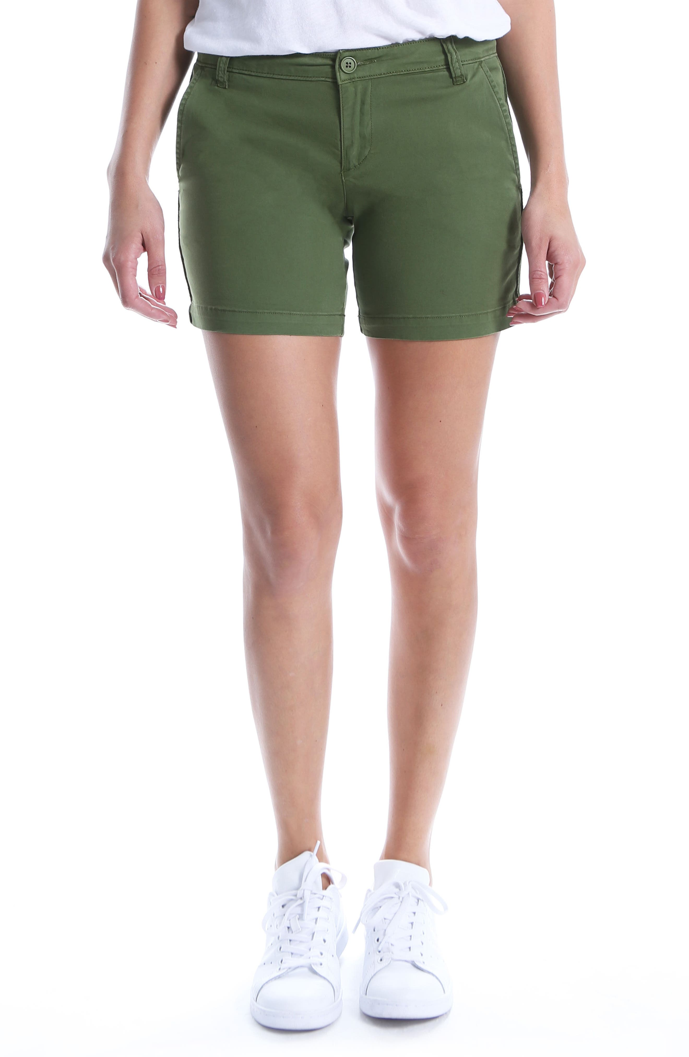 Stretch Cotton Roll Up Shorts,                         Main,                         color, Chrome Green