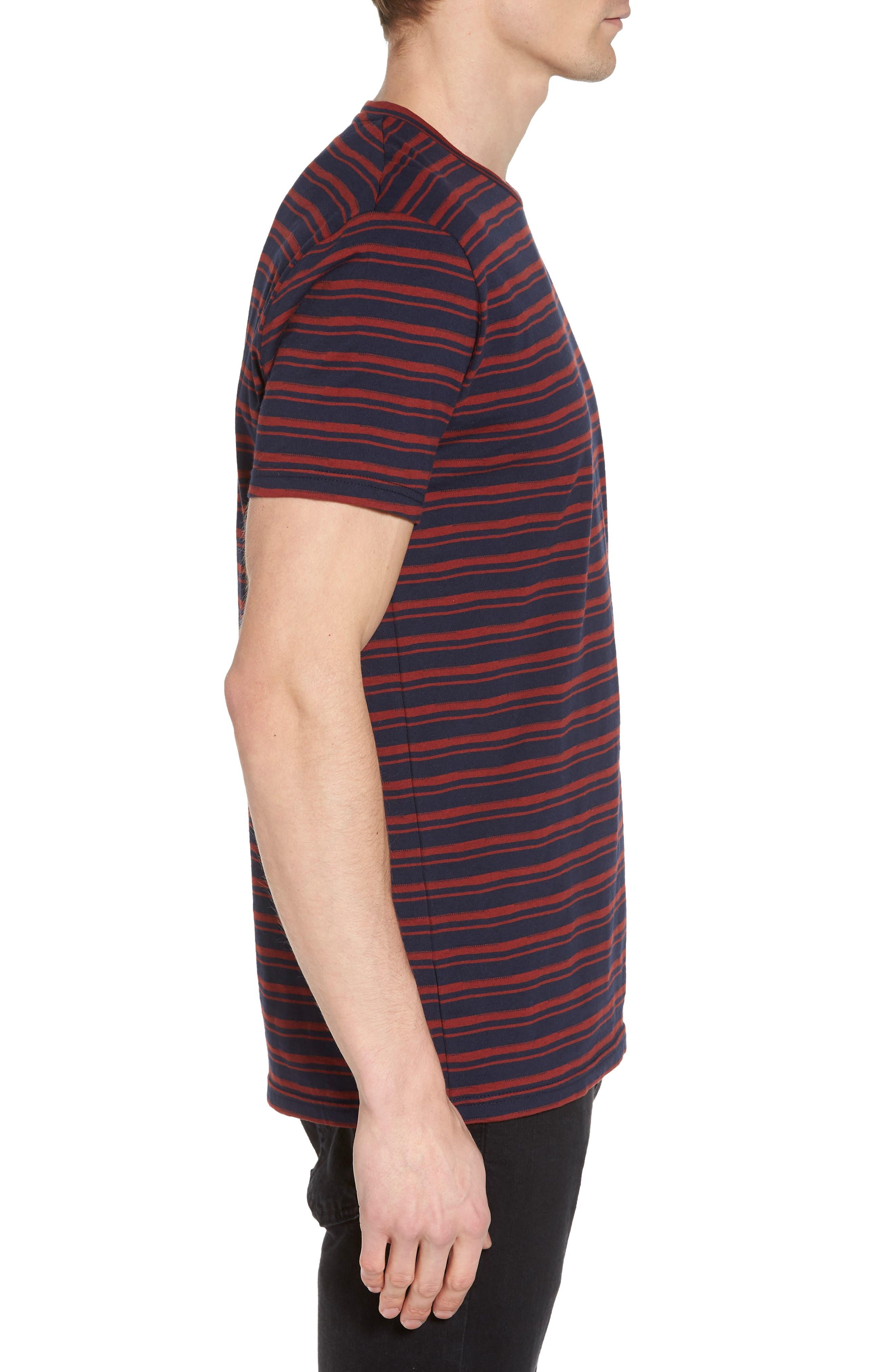 Distorted Stripe T-Shirt,                             Alternate thumbnail 3, color,                             Navy