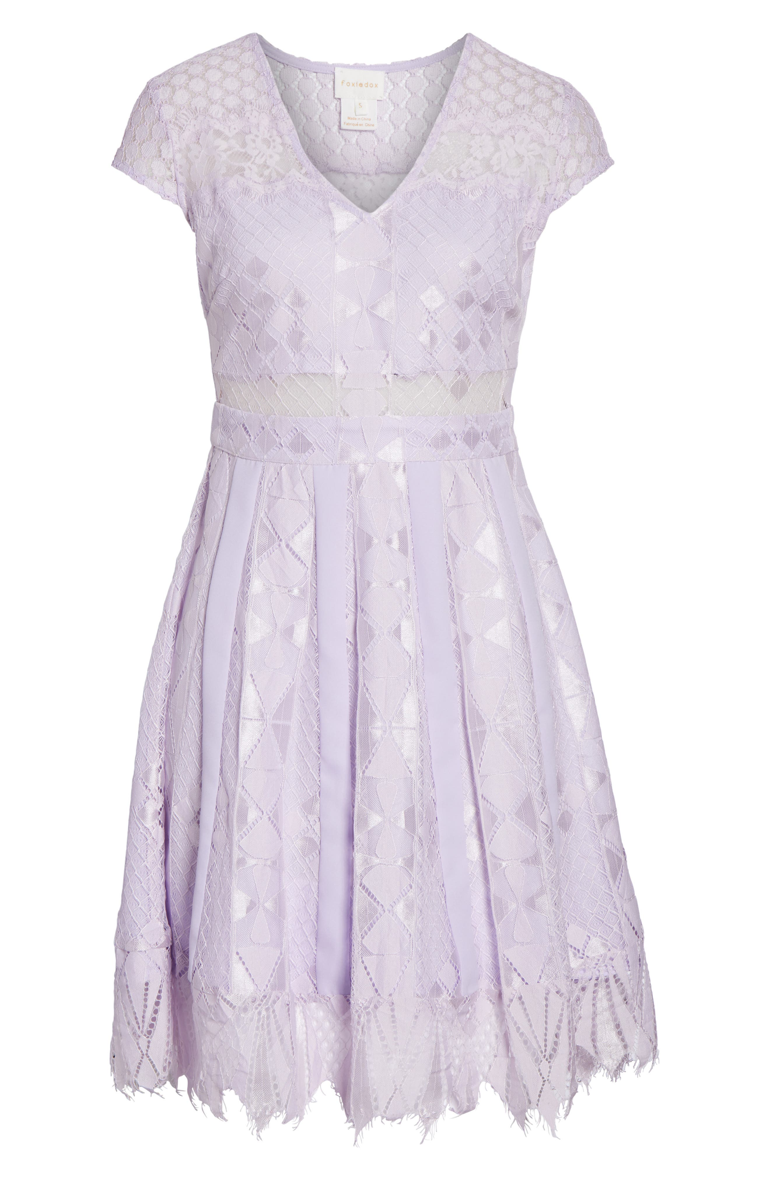 Florence Lace Fit & Flare Dress,                             Alternate thumbnail 6, color,                             Lilac