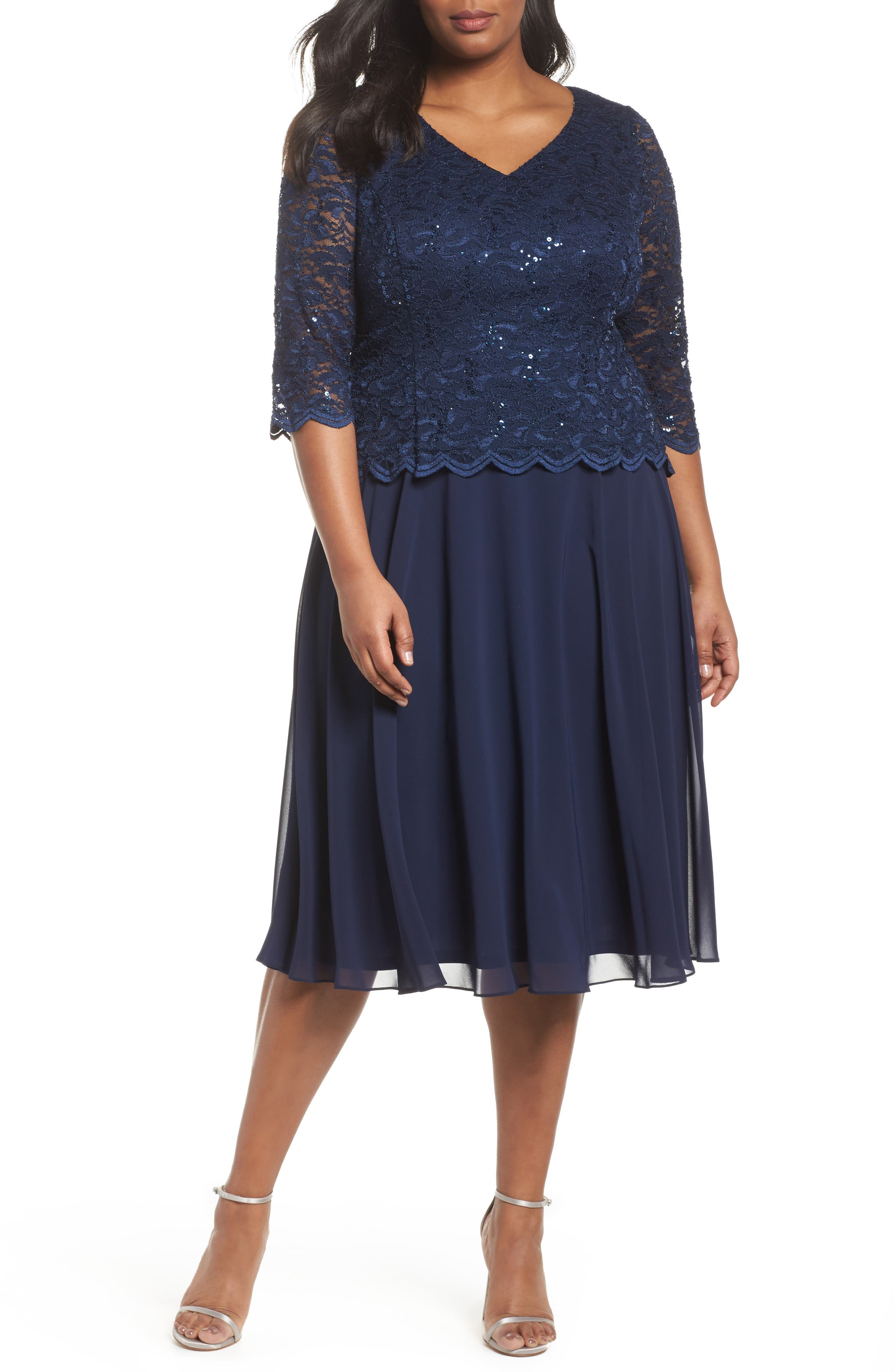 Alex Evenings V-Neck Lace Dress (Plus Size)