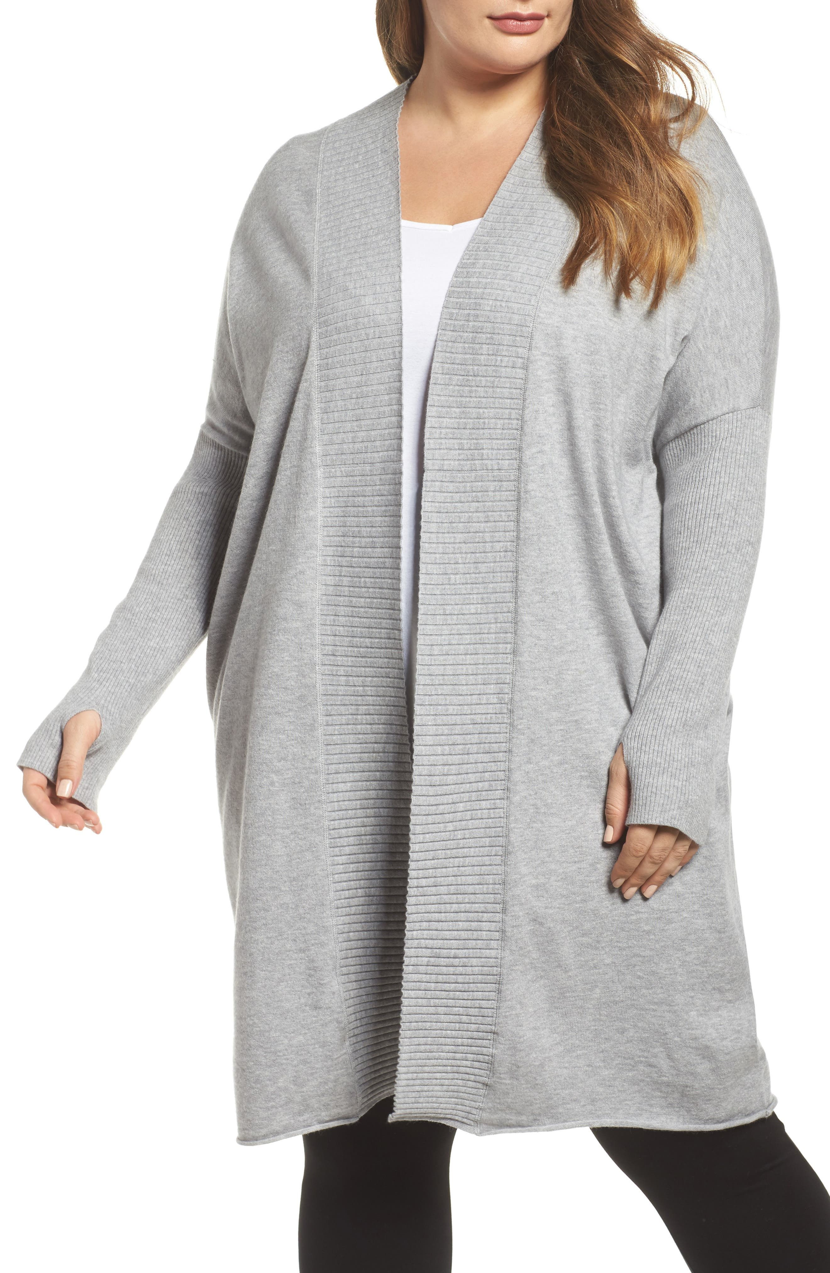 Off-Duty Long Open Front Cardigan,                         Main,                         color, Grey Heather