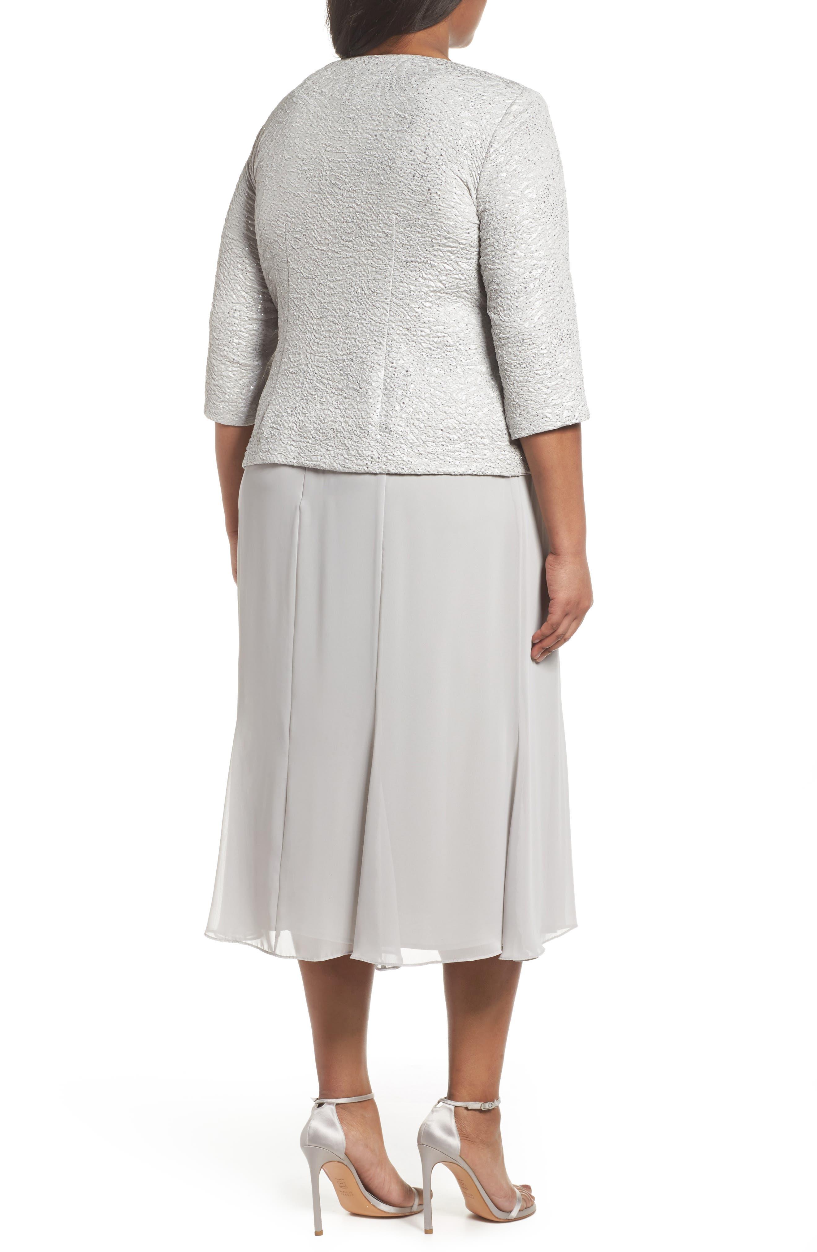 Mock Two-Piece Jacket Dress,                             Alternate thumbnail 2, color,                             Silver