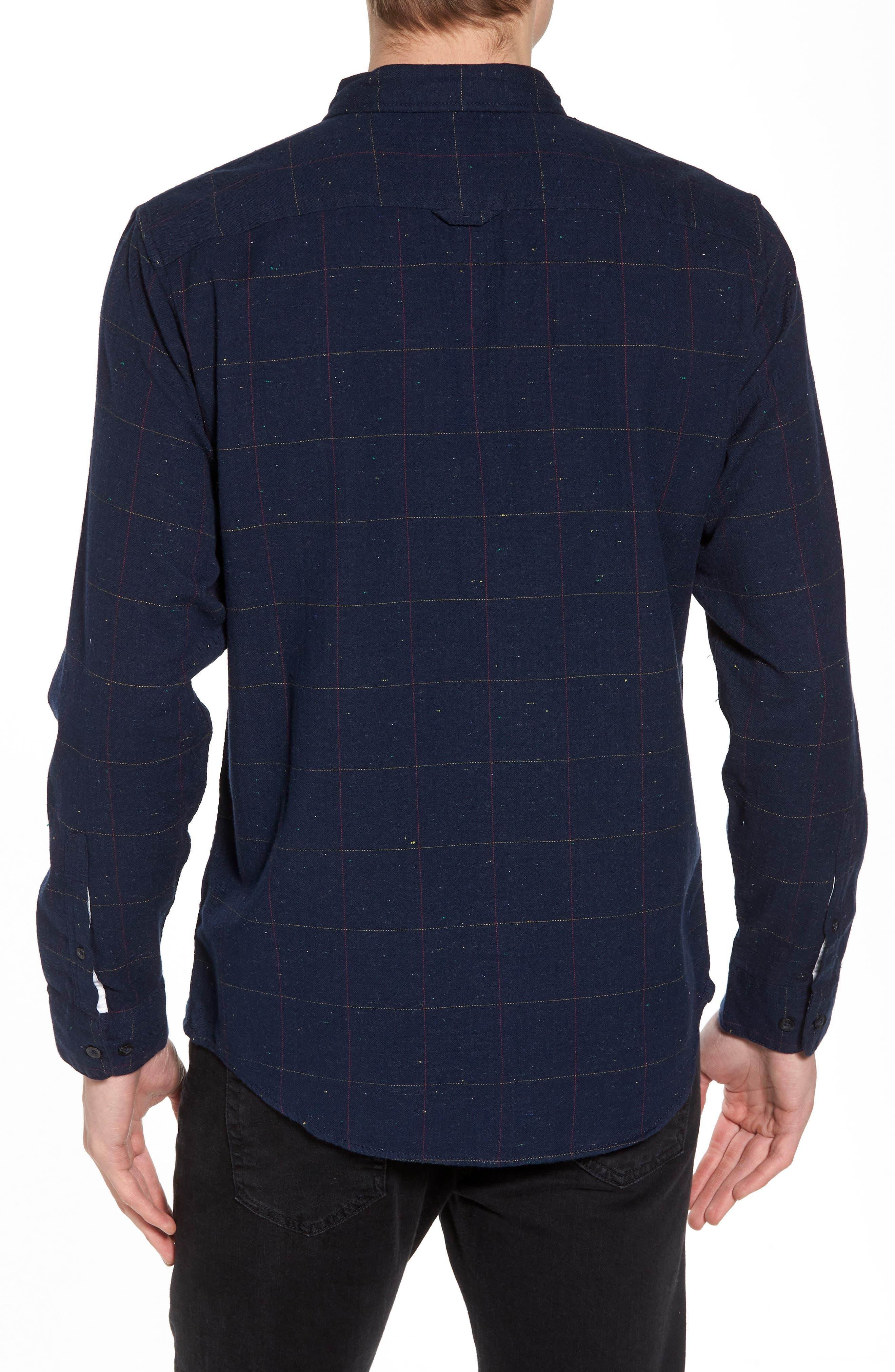 Herringbone Plaid Flannel Shirt,                             Alternate thumbnail 2, color,                             Black - White Nepped Tartan