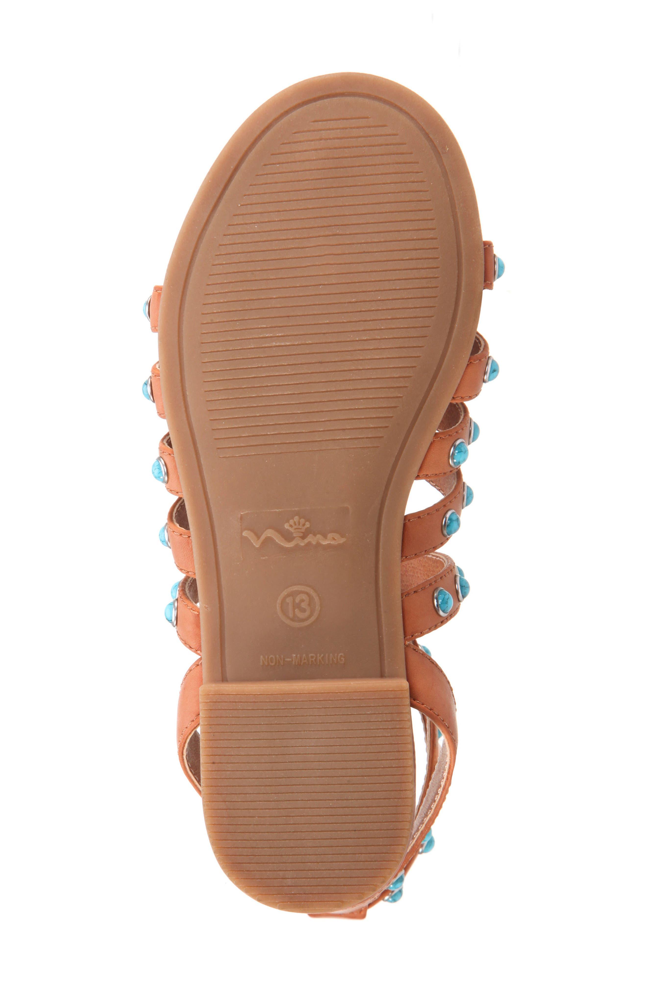 Tammara Studded Gladiator Sandal,                             Alternate thumbnail 6, color,                             Tan Burnished