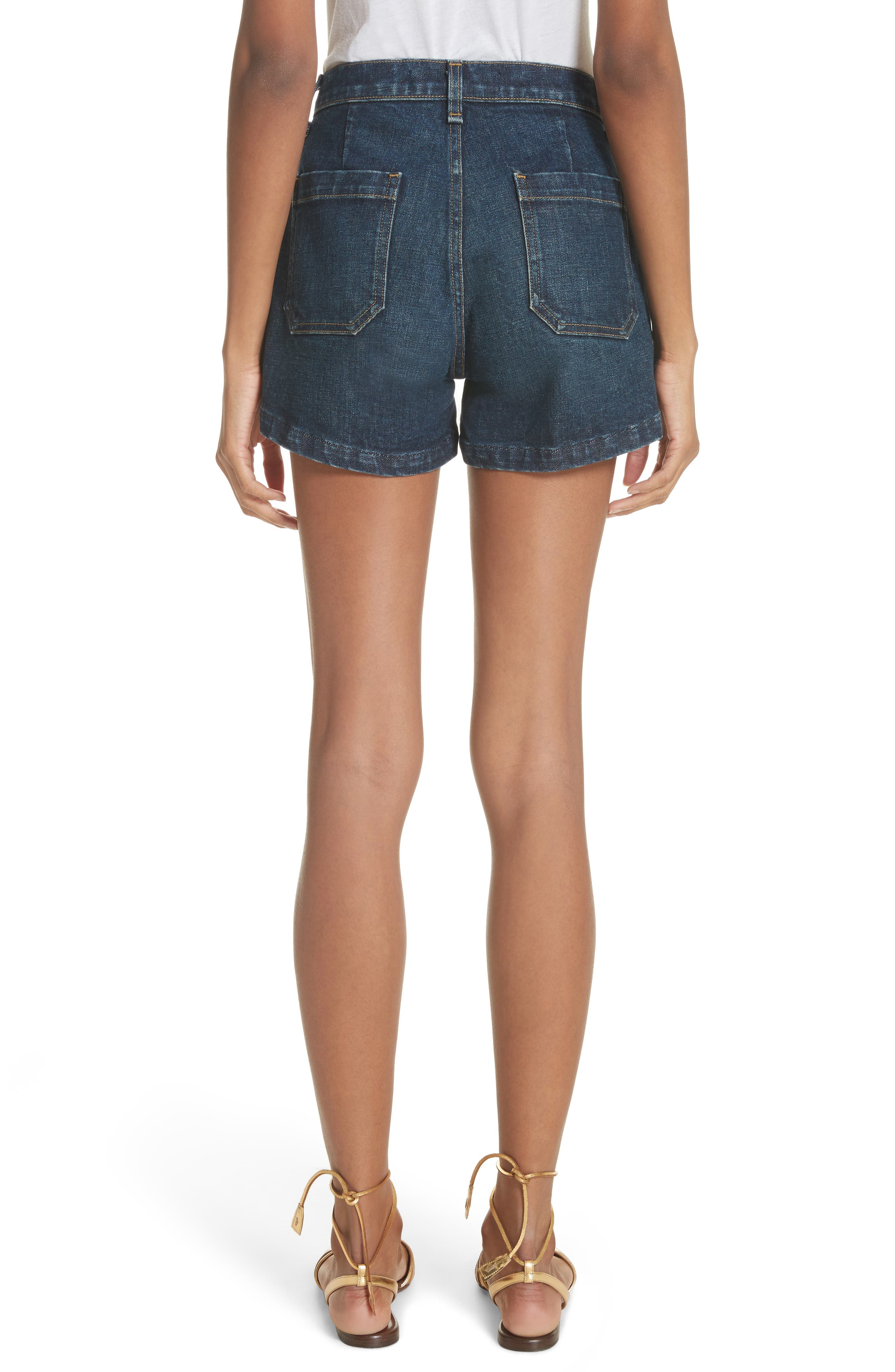 Florence Denim Shorts,                             Alternate thumbnail 2, color,                             Dark Vintage