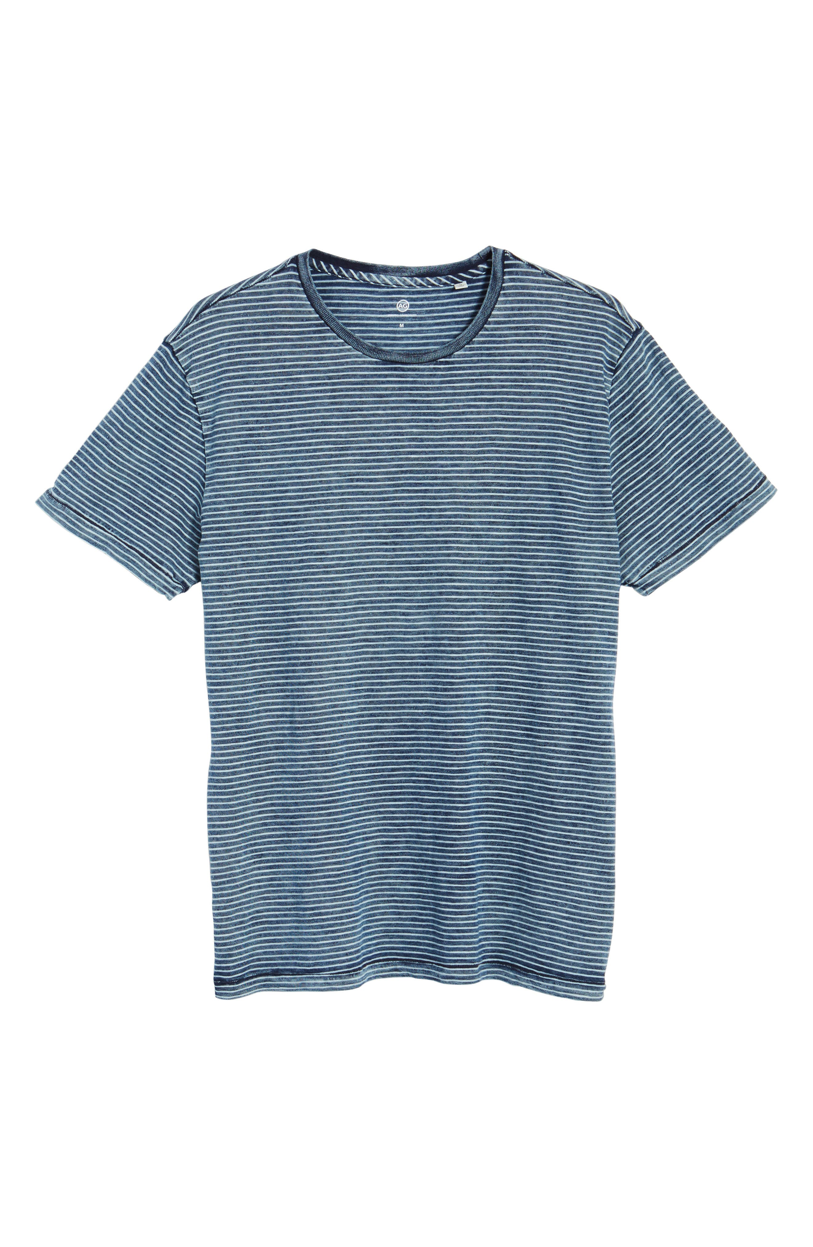 Julian Slim Fit Crewneck Shirt,                             Alternate thumbnail 6, color,                             Marbled Indigo/ White Stripe