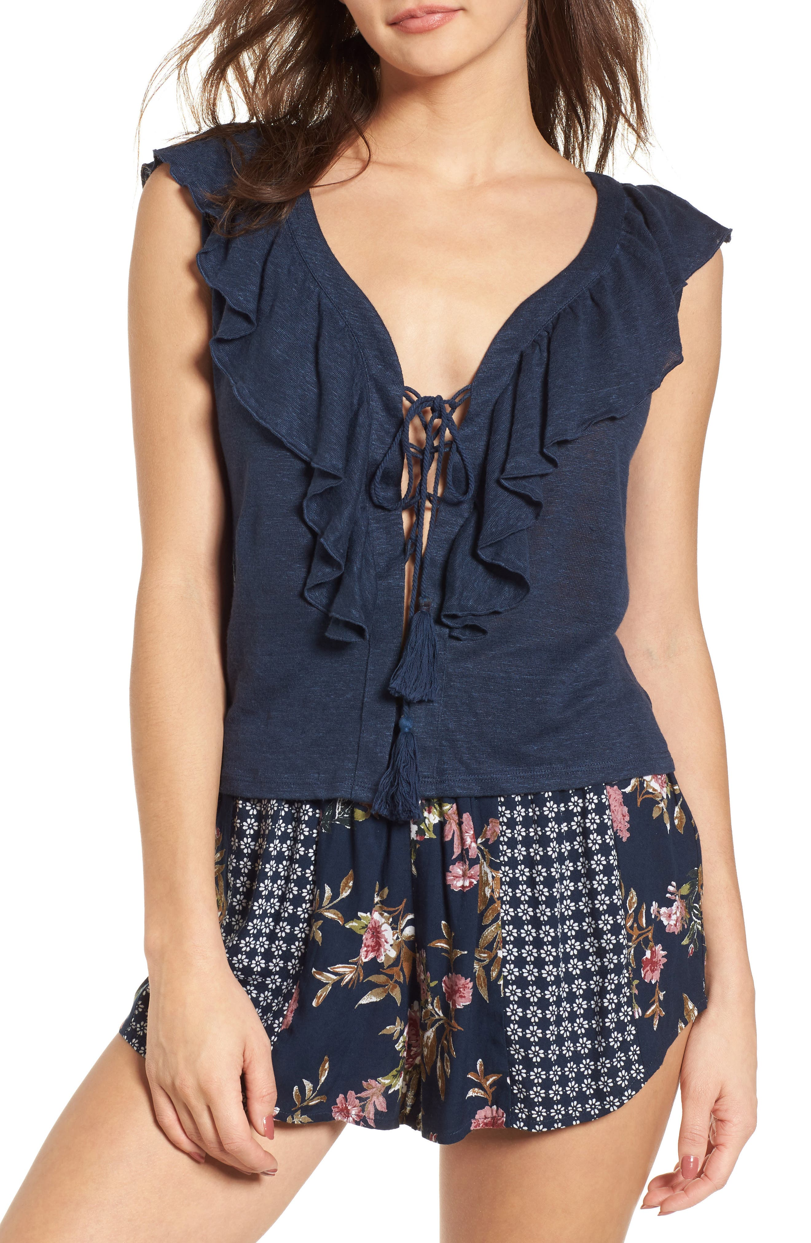 Ruffle Trim Lace Up Linen Top,                         Main,                         color, Navy