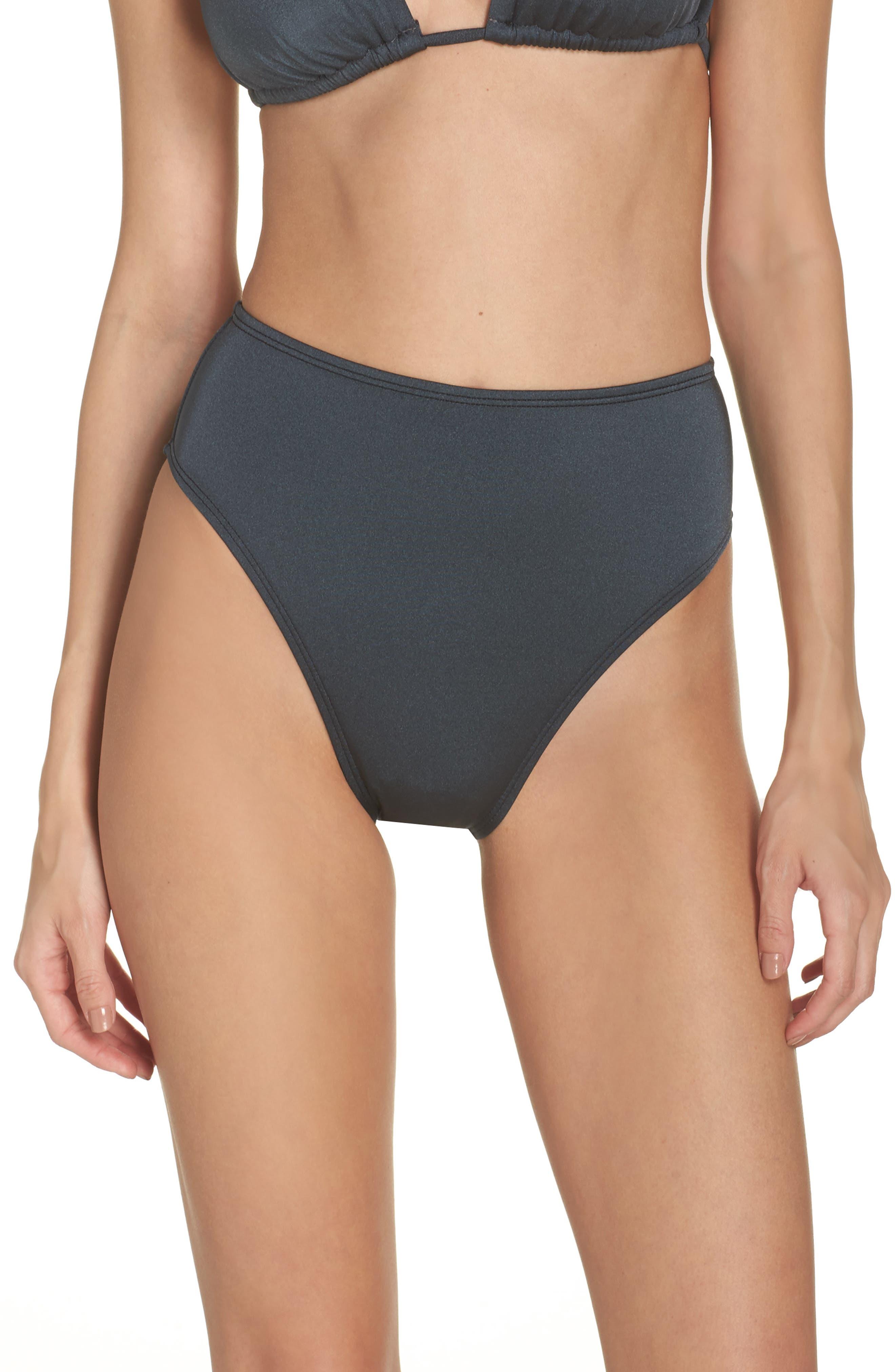 High Waist Bikini Bottoms,                         Main,                         color, Grey Turbulence
