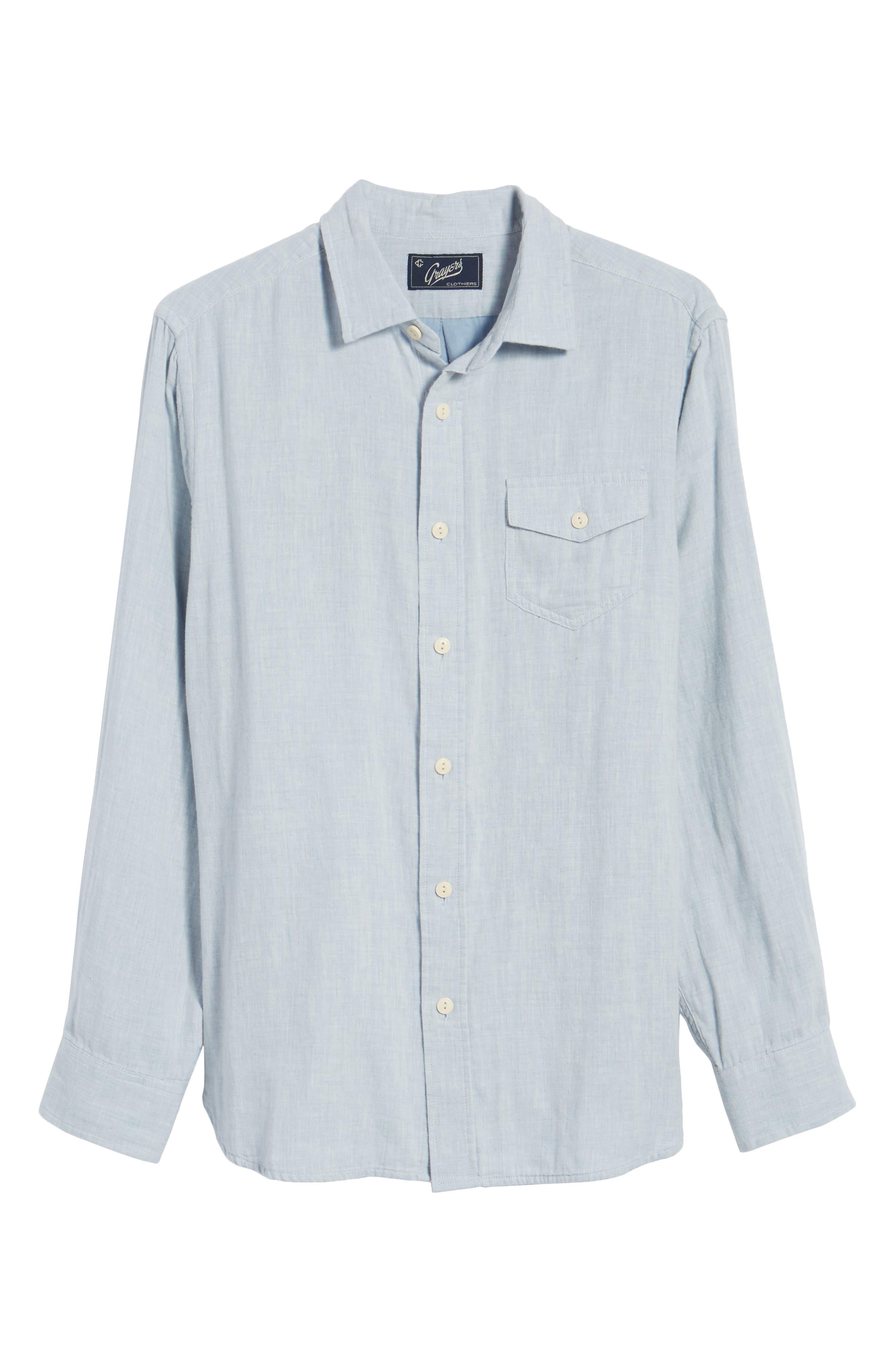Hammond Slim Fit Sport Shirt,                             Alternate thumbnail 6, color,                             Light Blue Heather
