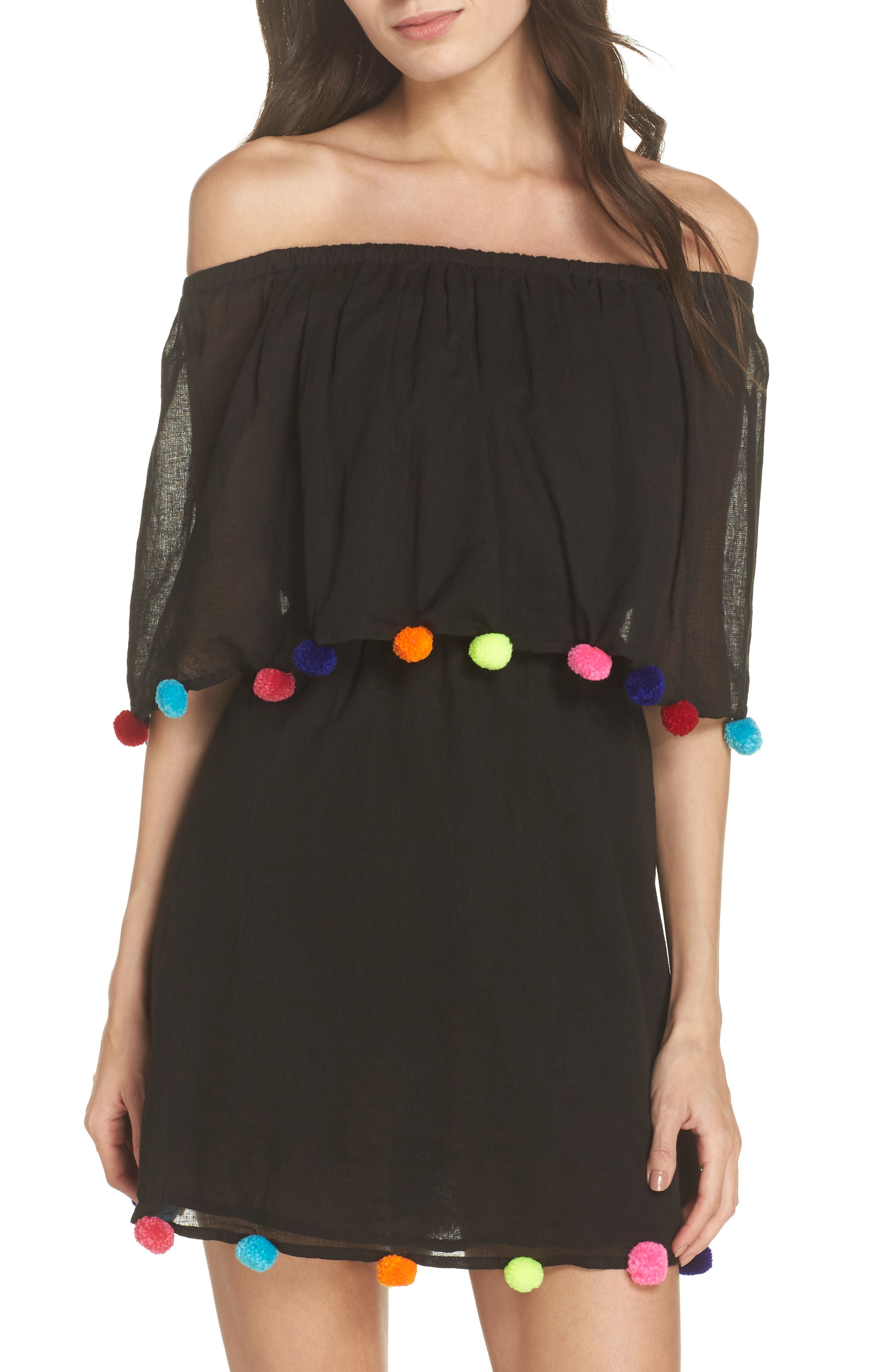 PomPom Festival Cover-Up Dress,                             Main thumbnail 1, color,                             Black