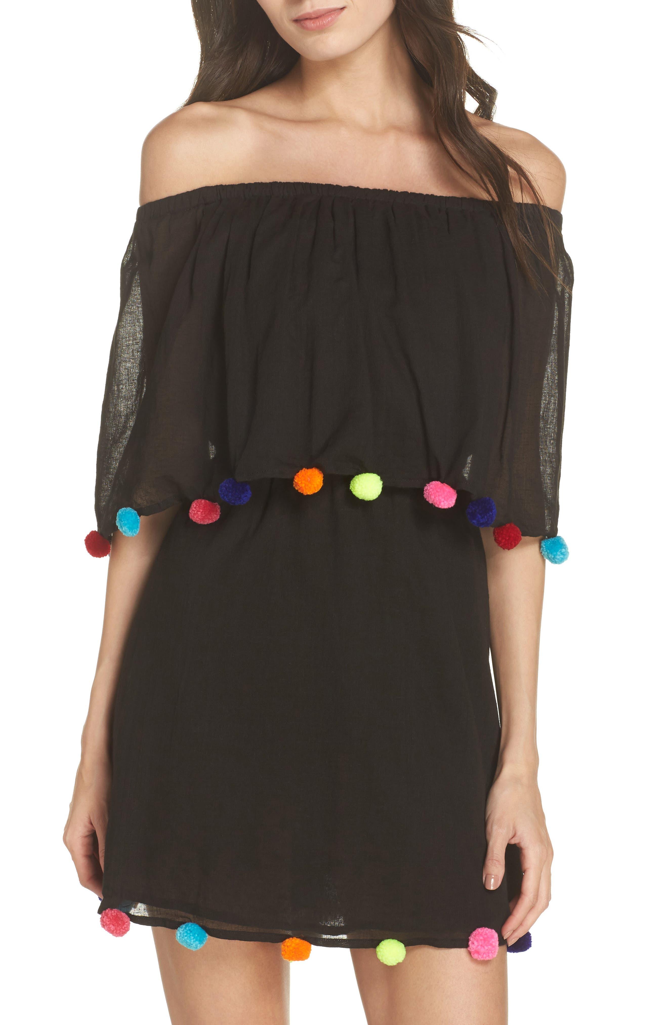 PomPom Festival Cover-Up Dress,                         Main,                         color, Black