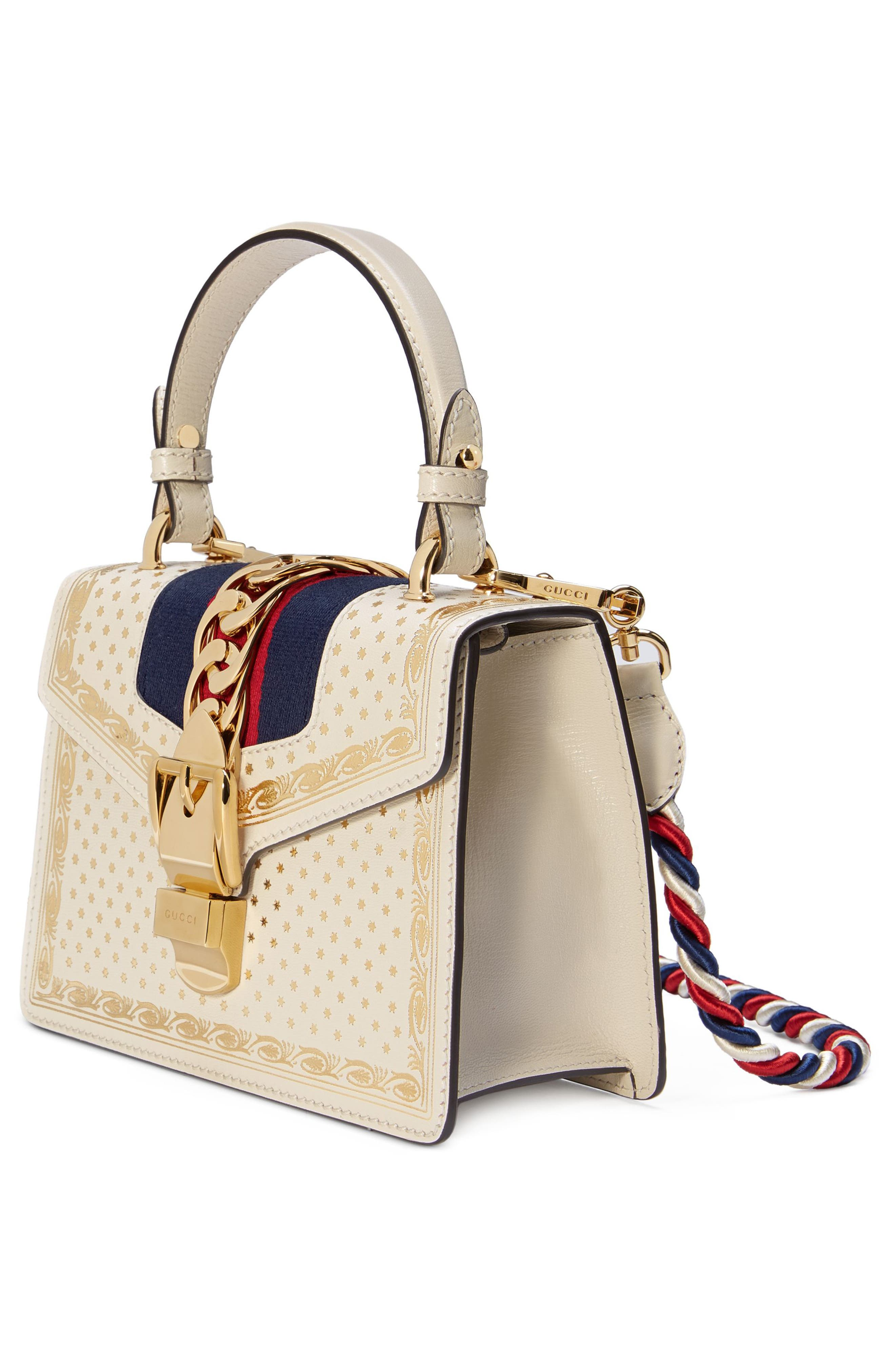 Mini Sylvie Moon & Stars Leather Shoulder Bag,                             Alternate thumbnail 4, color,                             Mystic White/ Oro/ Blue Red