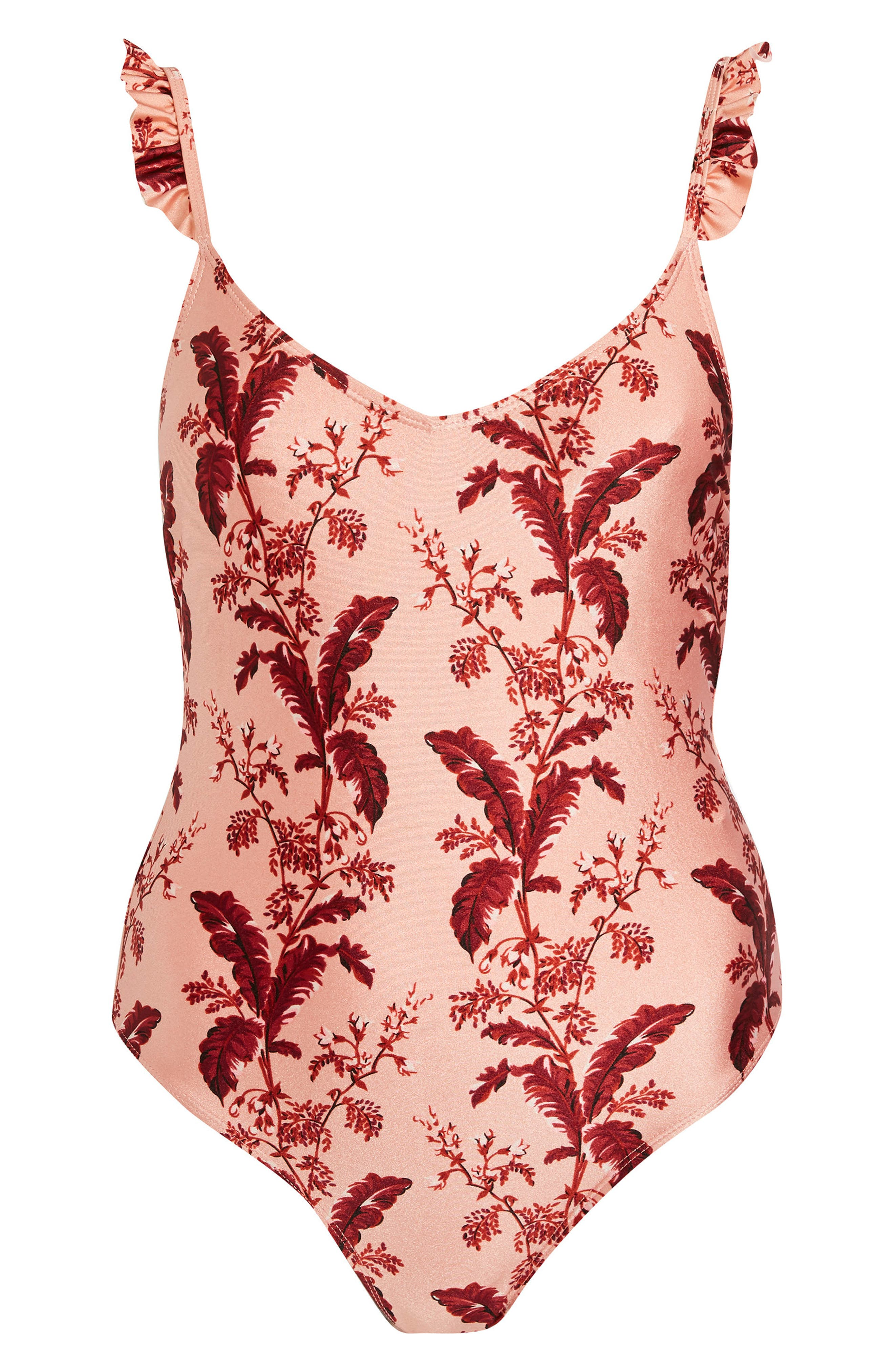 Ruffle Trim Swimsuit,                             Alternate thumbnail 3, color,                             Blush Multi