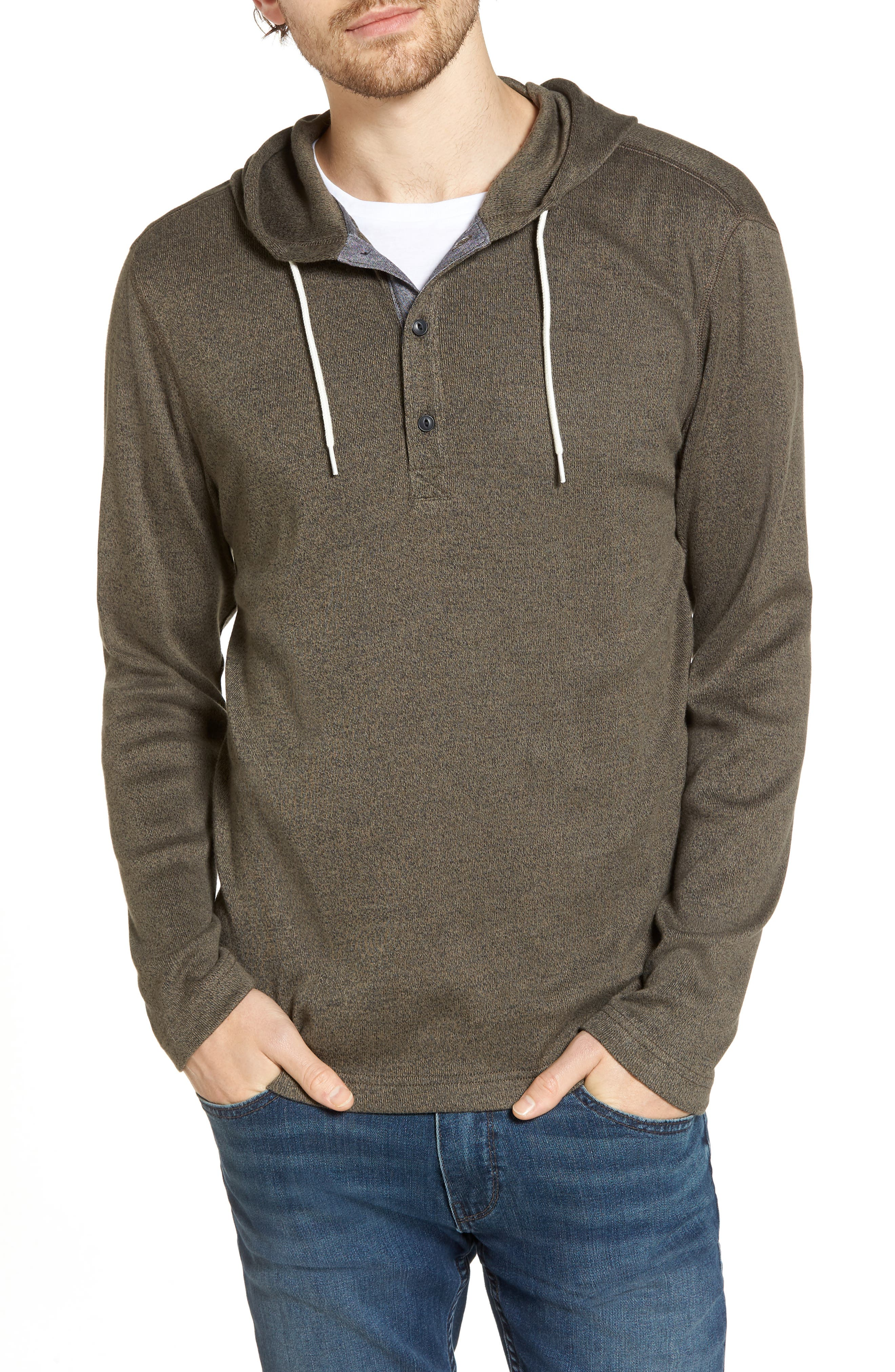 Knit Hooded Pullover,                         Main,                         color, Olive Tarmac Heather