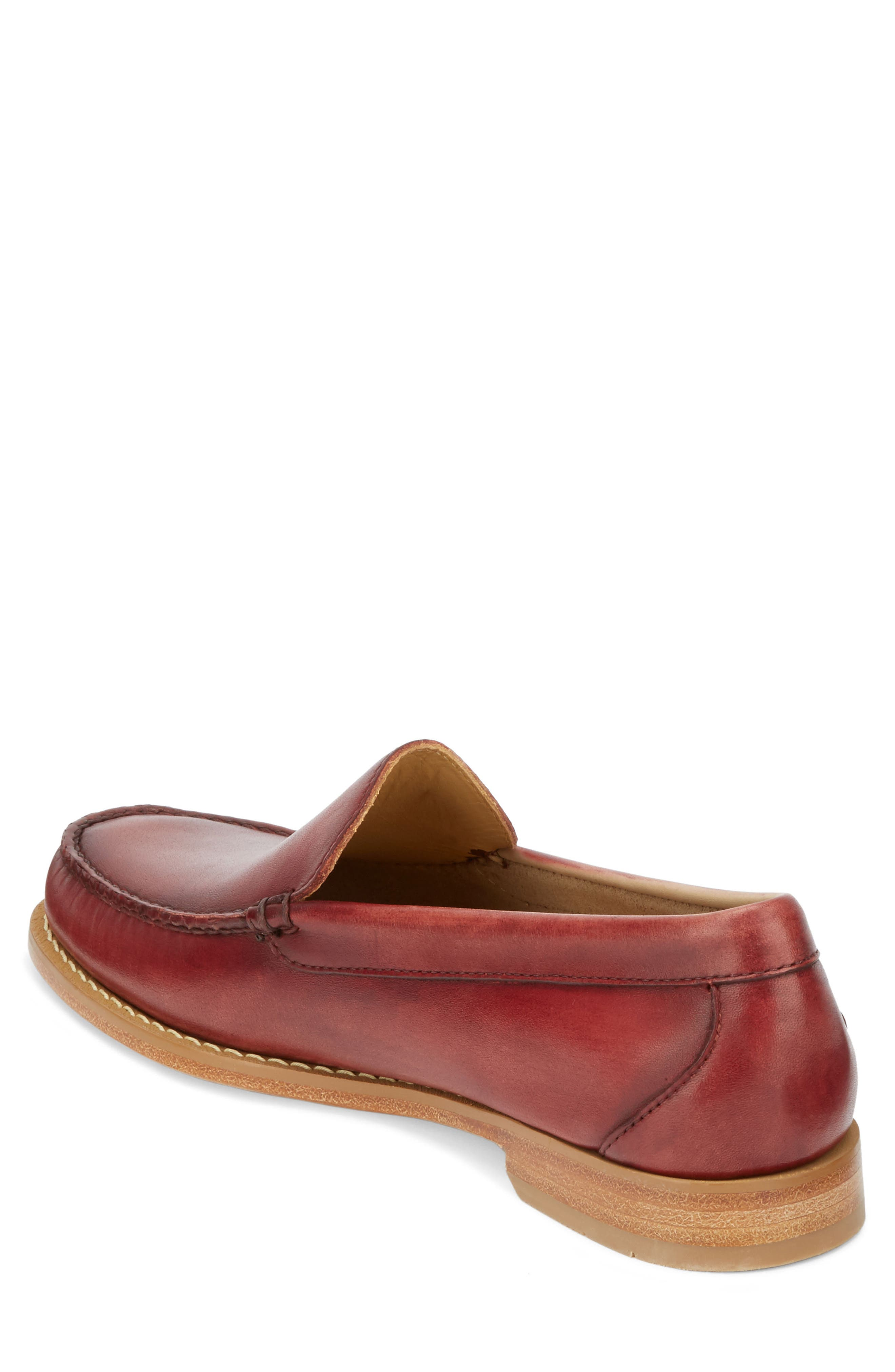 Moc Toe Loafer,                             Alternate thumbnail 2, color,                             Red Leather