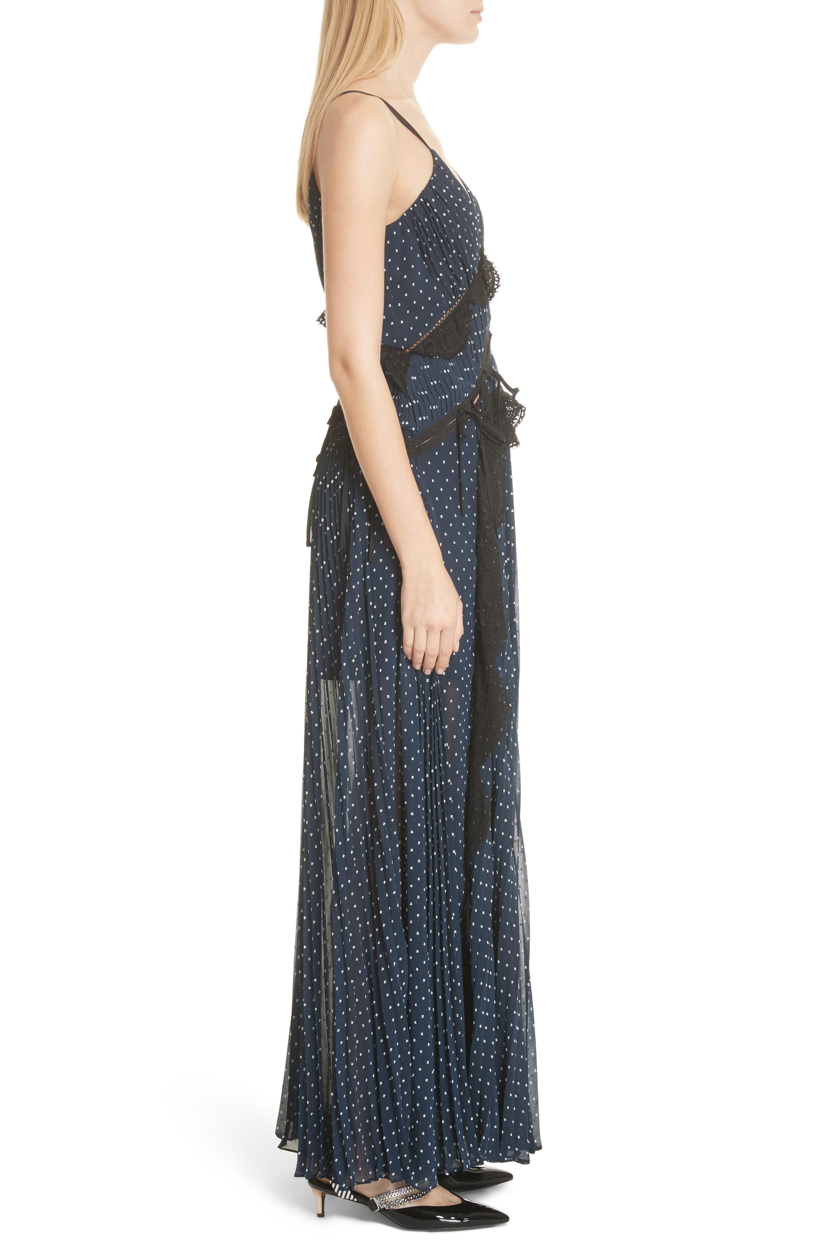 Plumetis Maxi Dress,                             Alternate thumbnail 3, color,                             Navy
