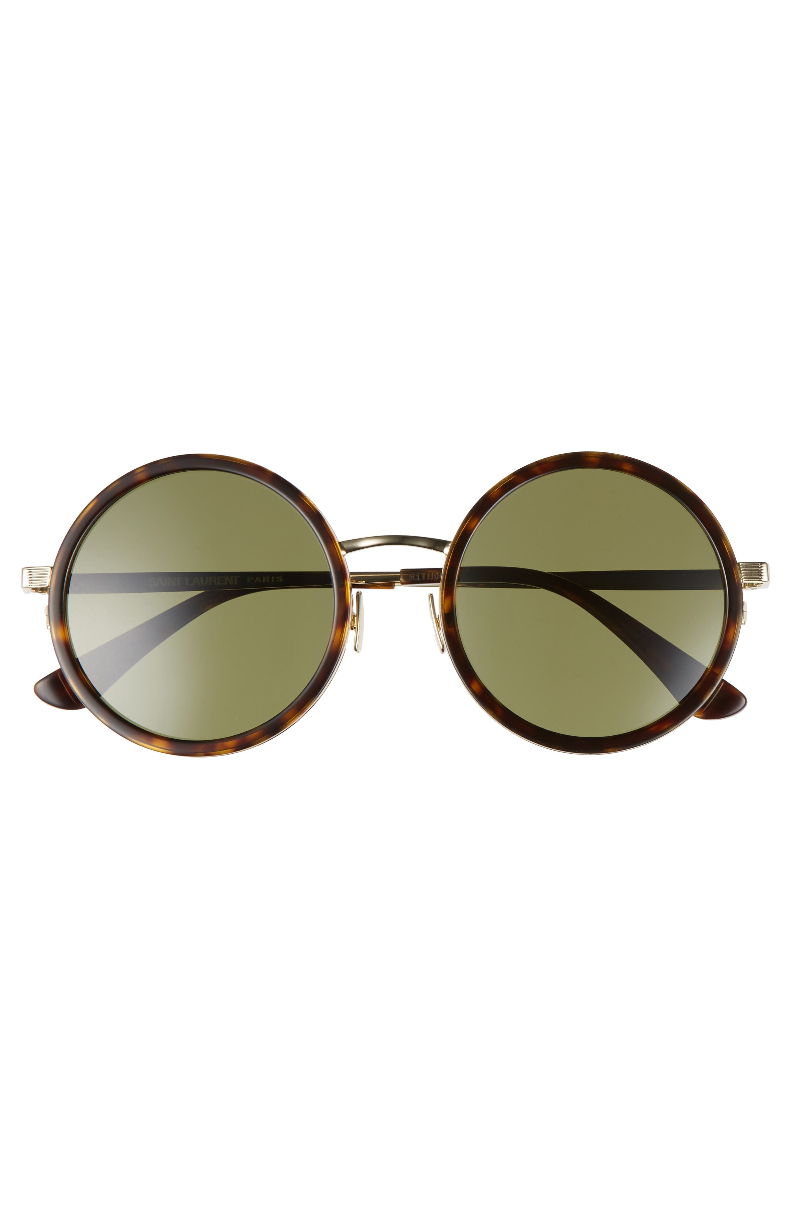 52mm Round Sunglasses,                             Alternate thumbnail 3, color,                             Havana