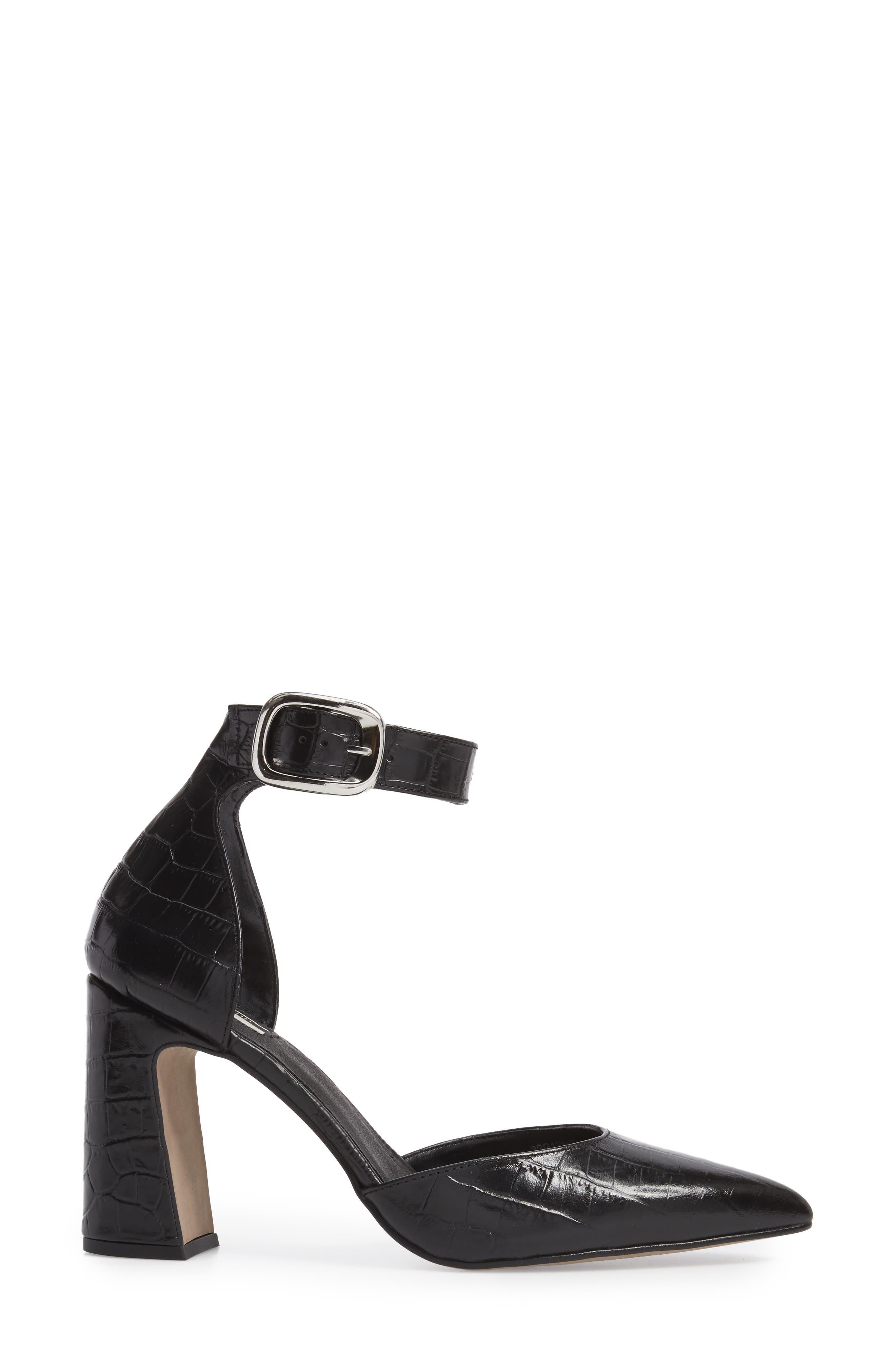 Geisha Ankle Strap Pump,                             Alternate thumbnail 3, color,                             Black