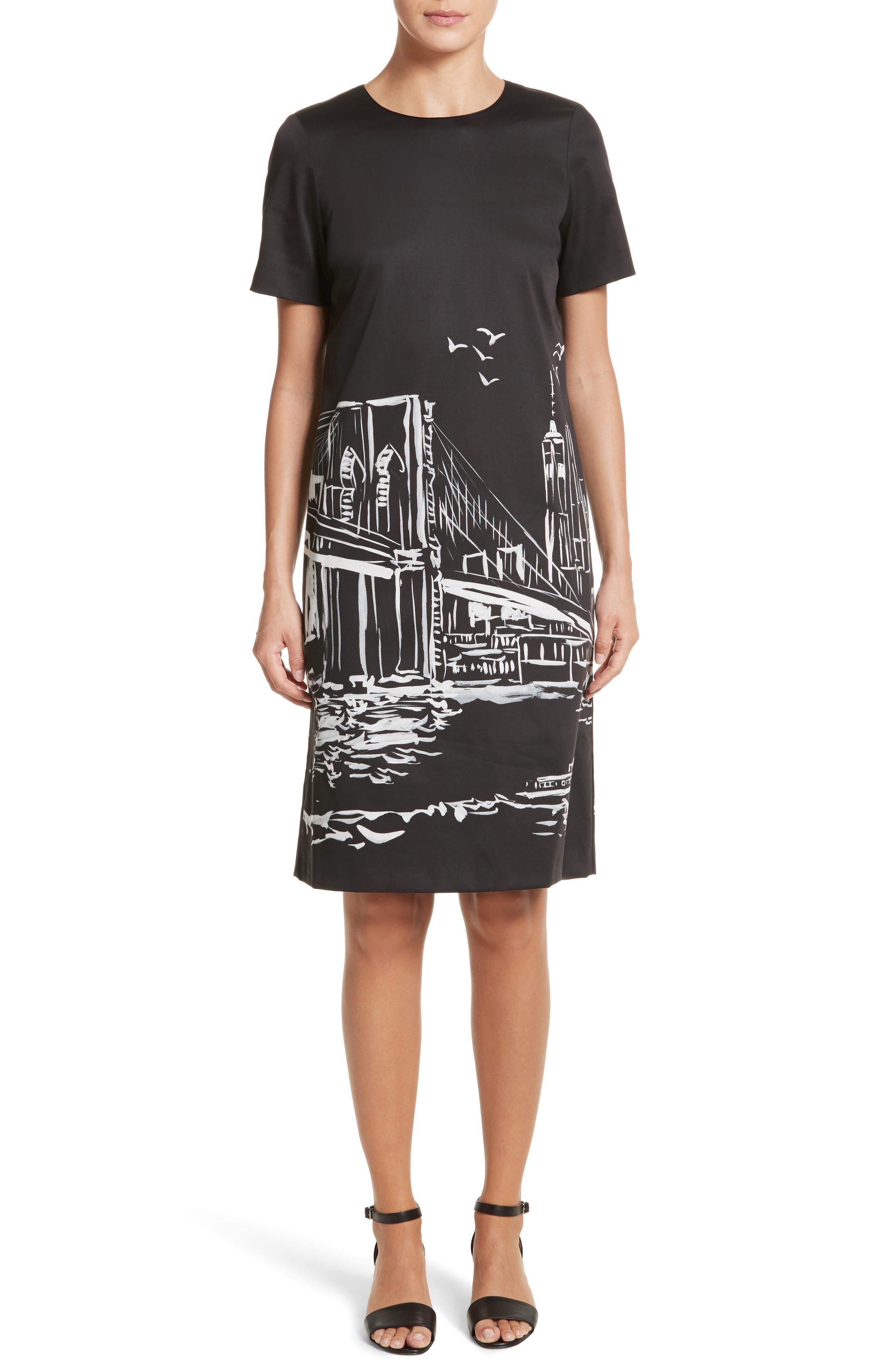 Giuliana Print Shift Dress,                         Main,                         color, Black Multi