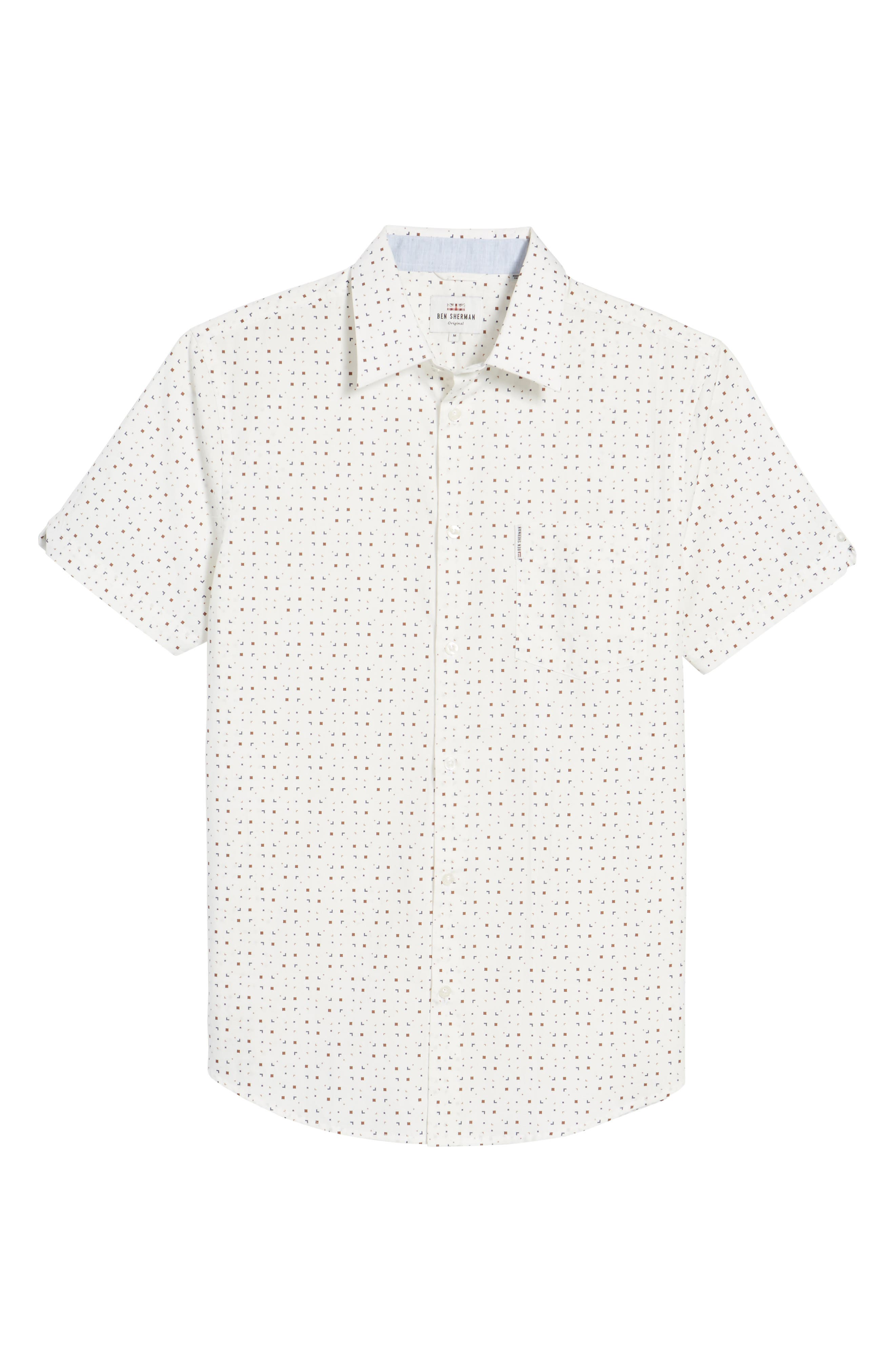 Scattered Geo Woven Shirt,                             Alternate thumbnail 6, color,                             Off White