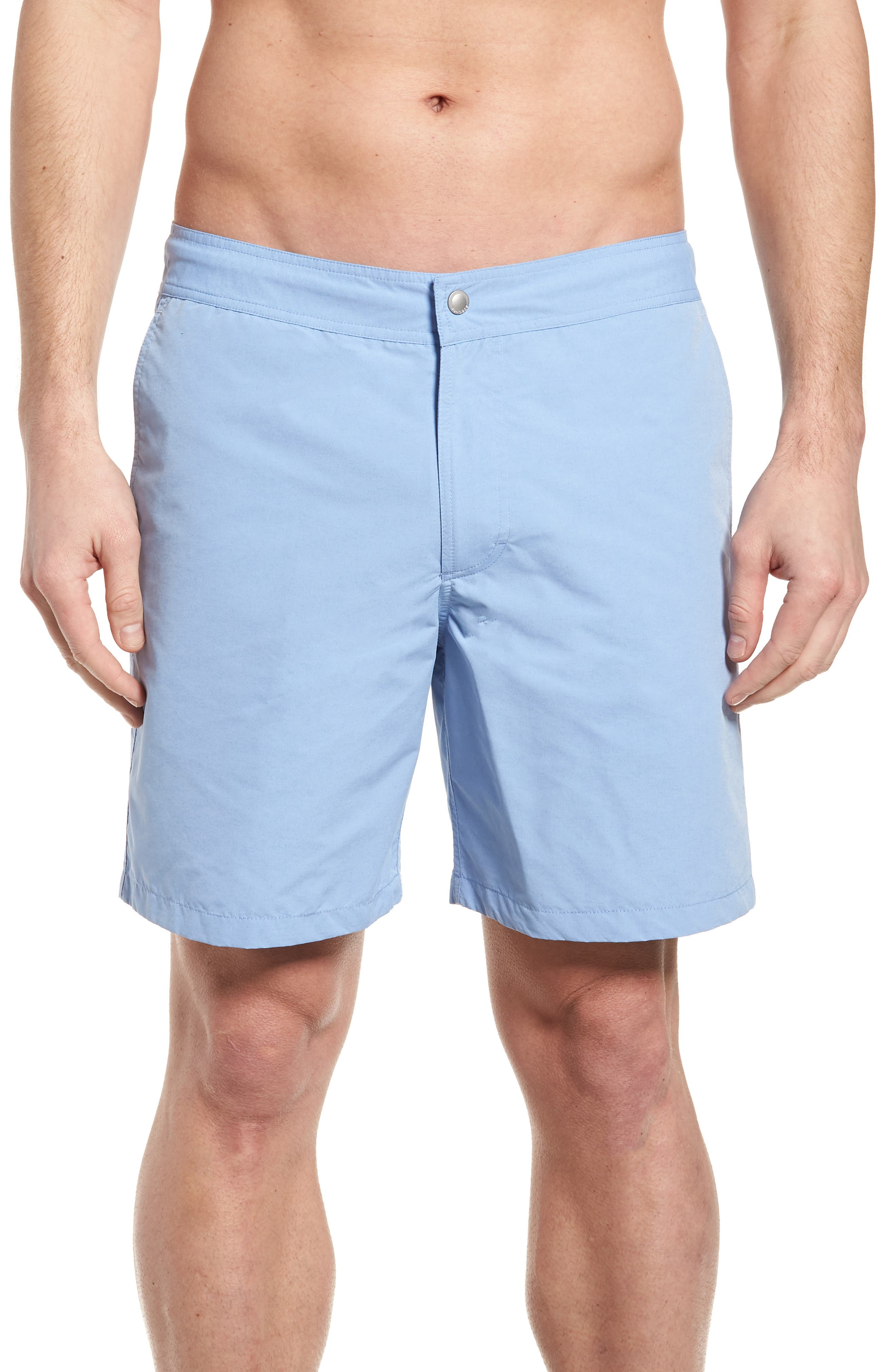 Solid 7-Inch Swim Trunks,                         Main,                         color, Blue Chambray