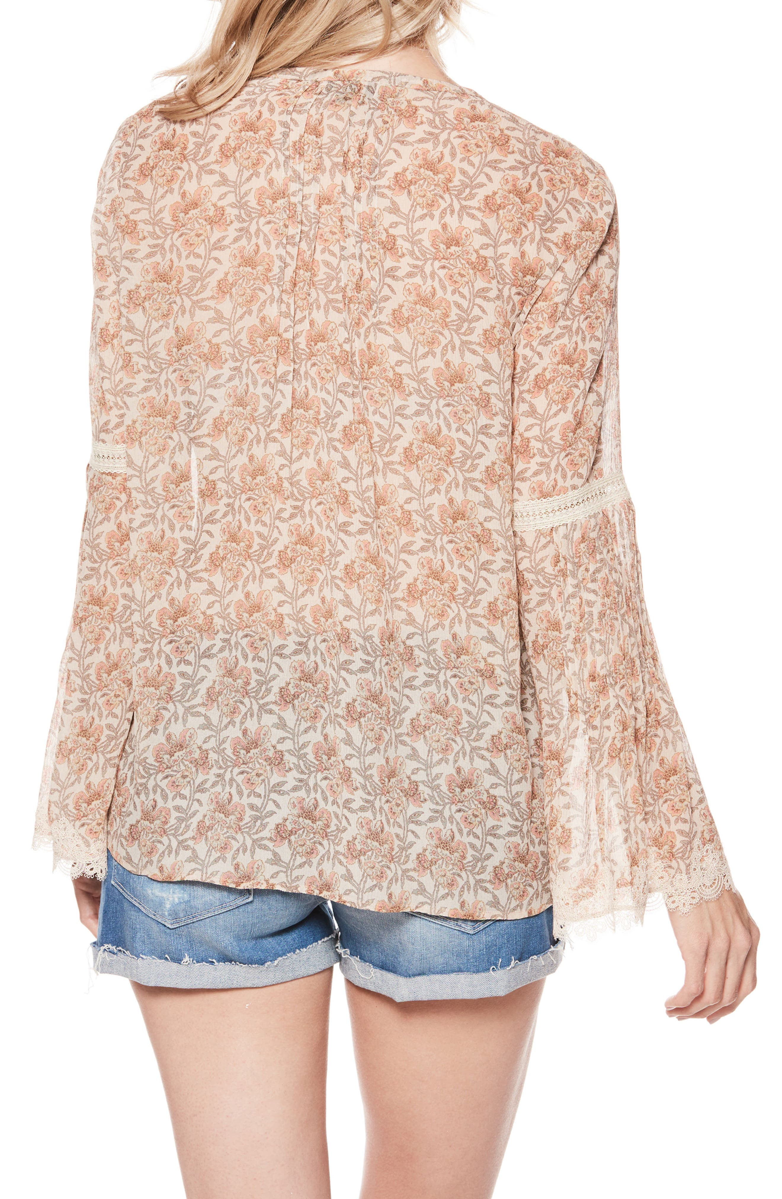 Clio Silk Blouse,                             Alternate thumbnail 3, color,                             Desert Sunrise Floral