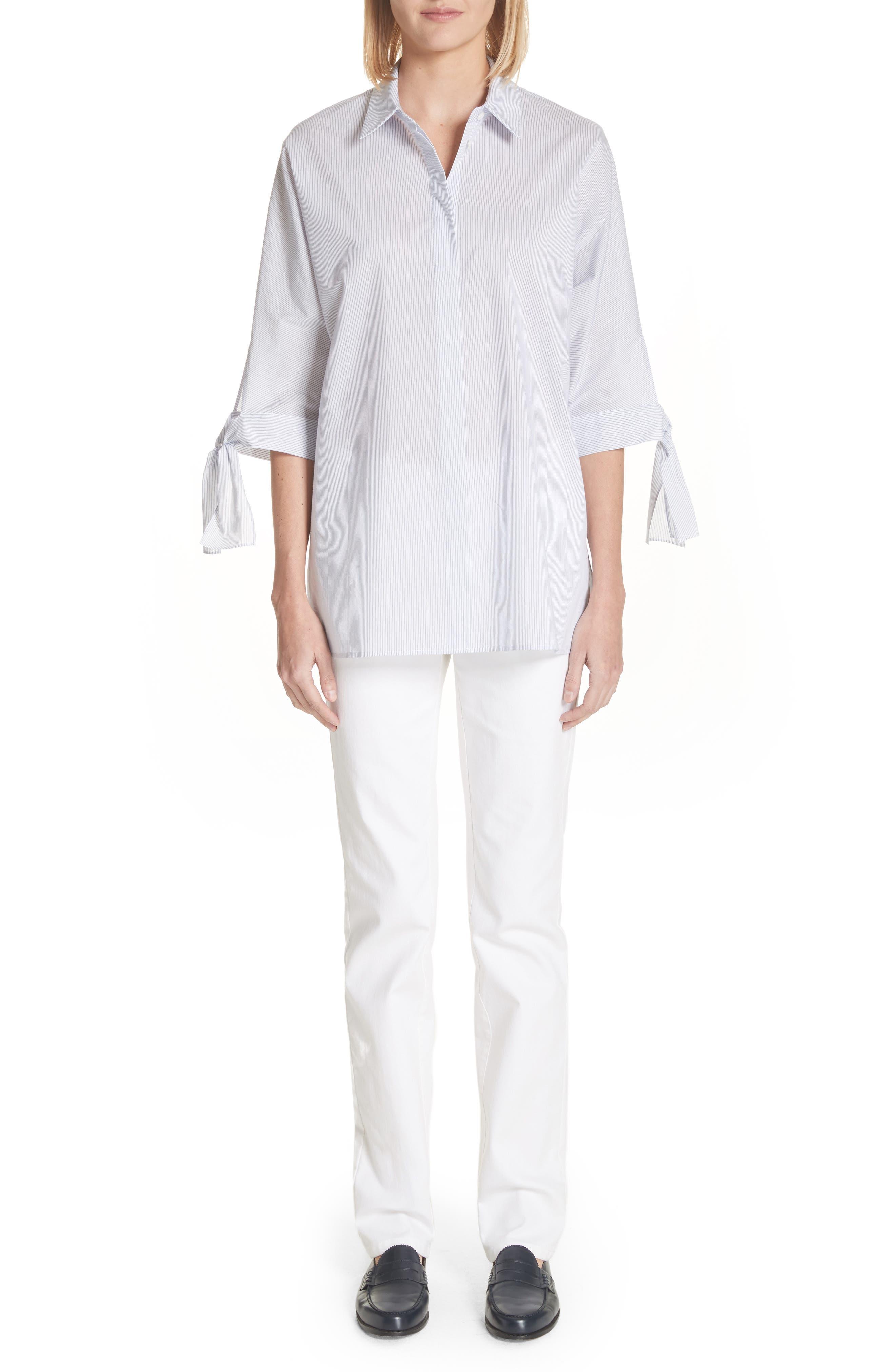 Breezy Stripe Saige Blouse,                             Alternate thumbnail 8, color,                             White Multi