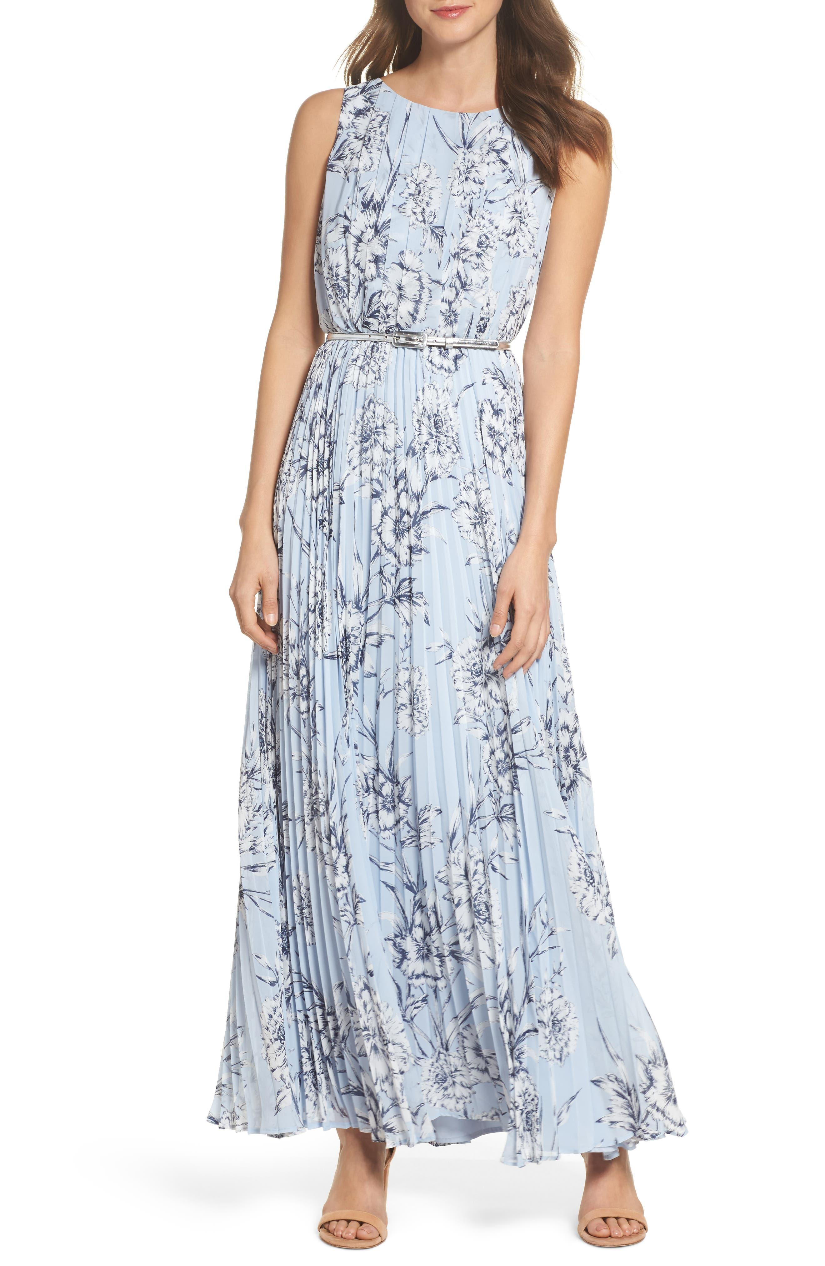 Pleated Maxi Dress,                         Main,                         color, Blue
