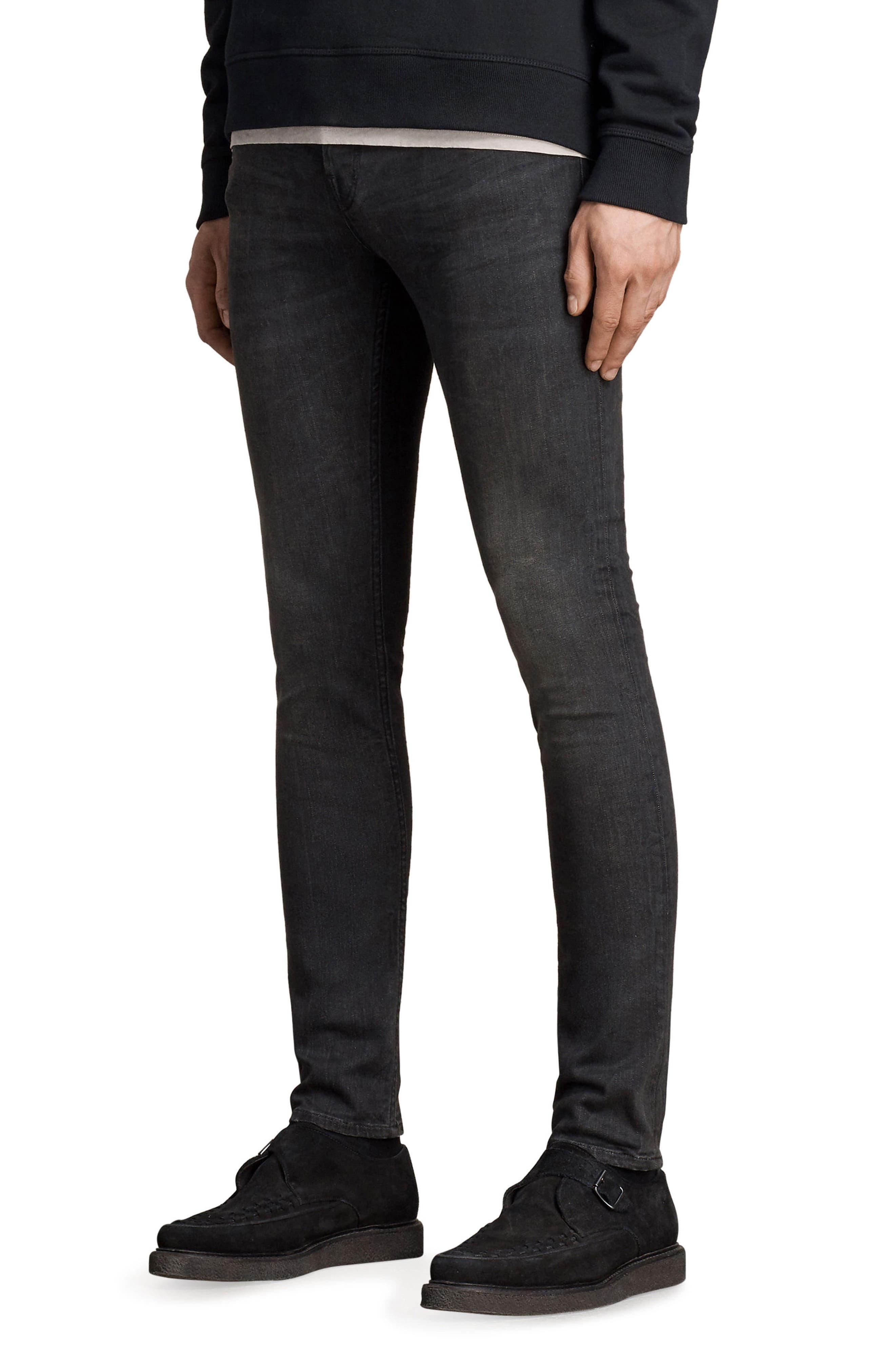 Print Skinny Fit Jeans,                             Alternate thumbnail 3, color,                             Black