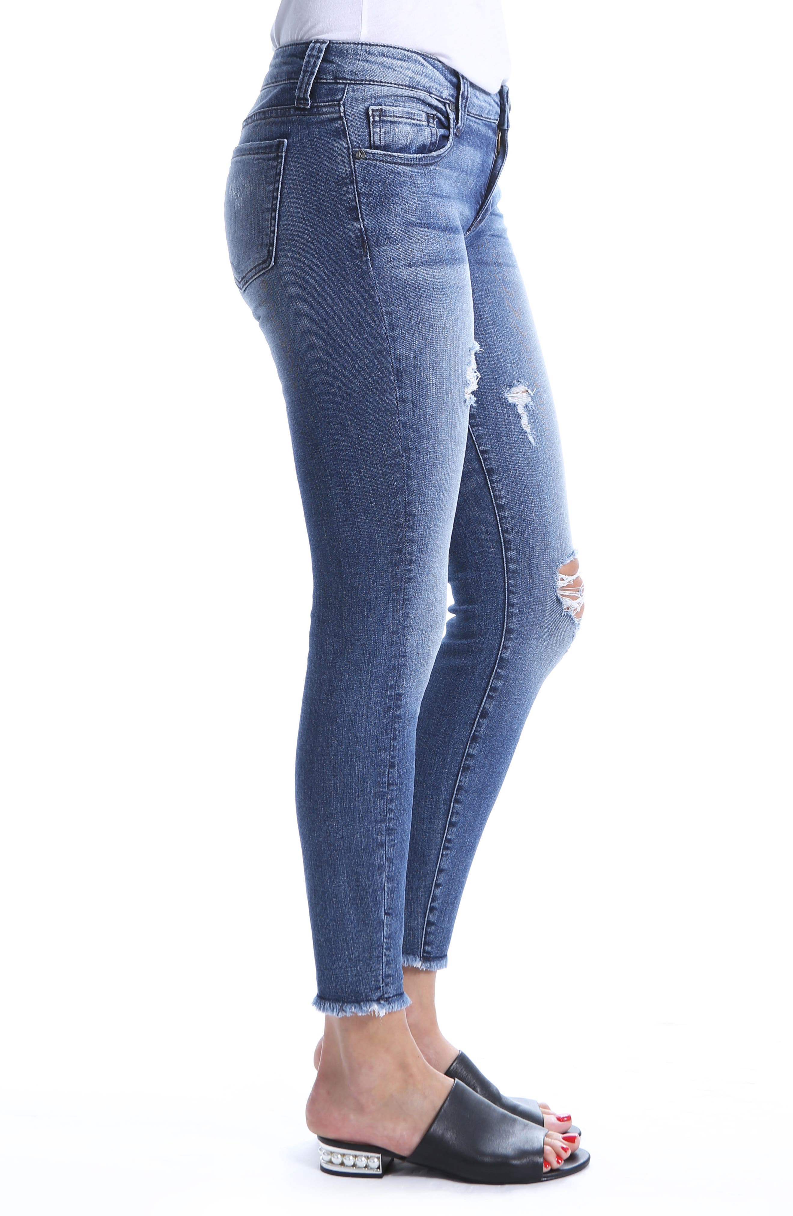 Connie Ripped Distressed Frayed Hem Jeans,                             Alternate thumbnail 3, color,                             Galvanized