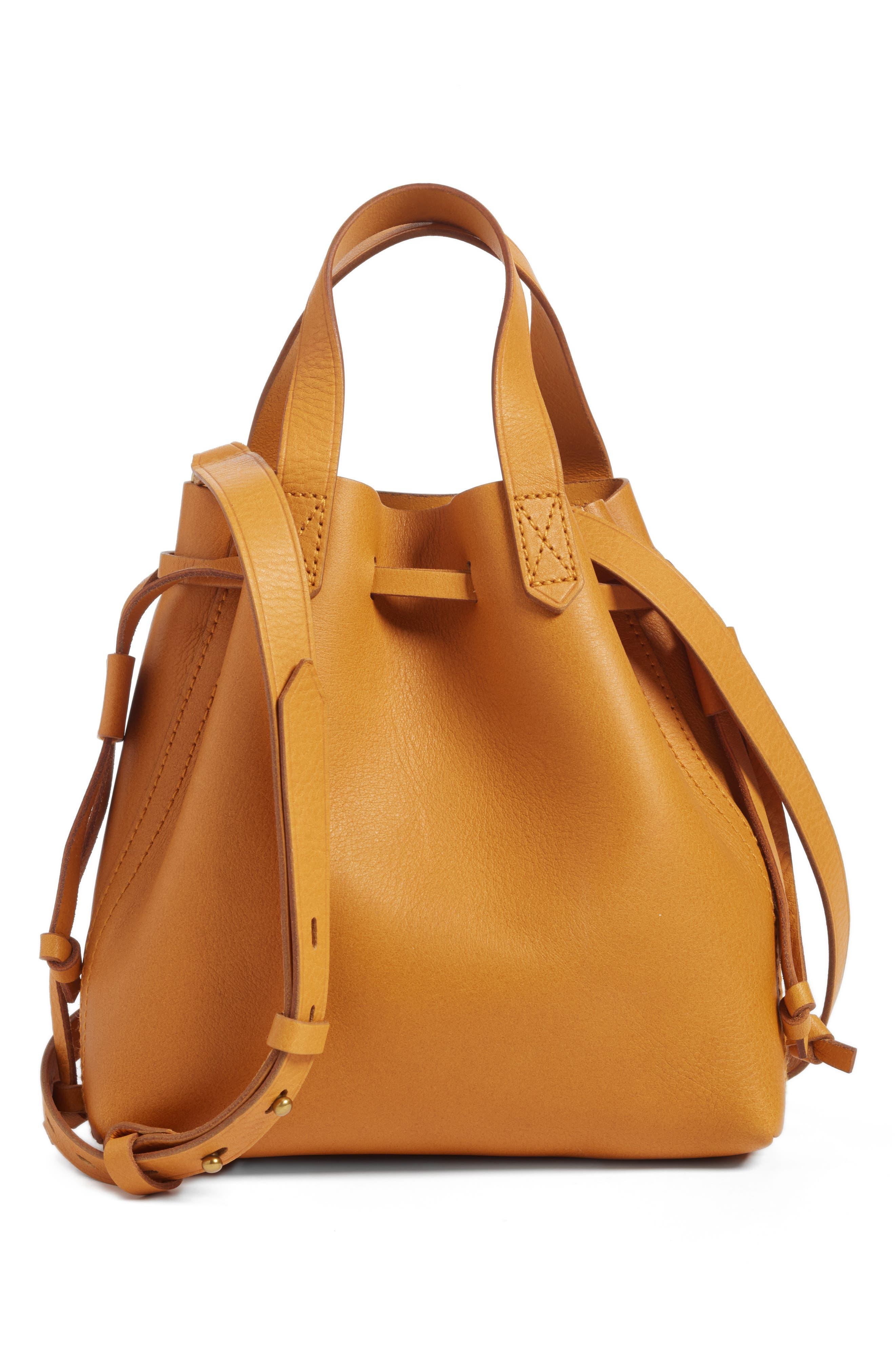 Main Image - Madewell The Mini Pocket Transport Leather Drawstring Tote