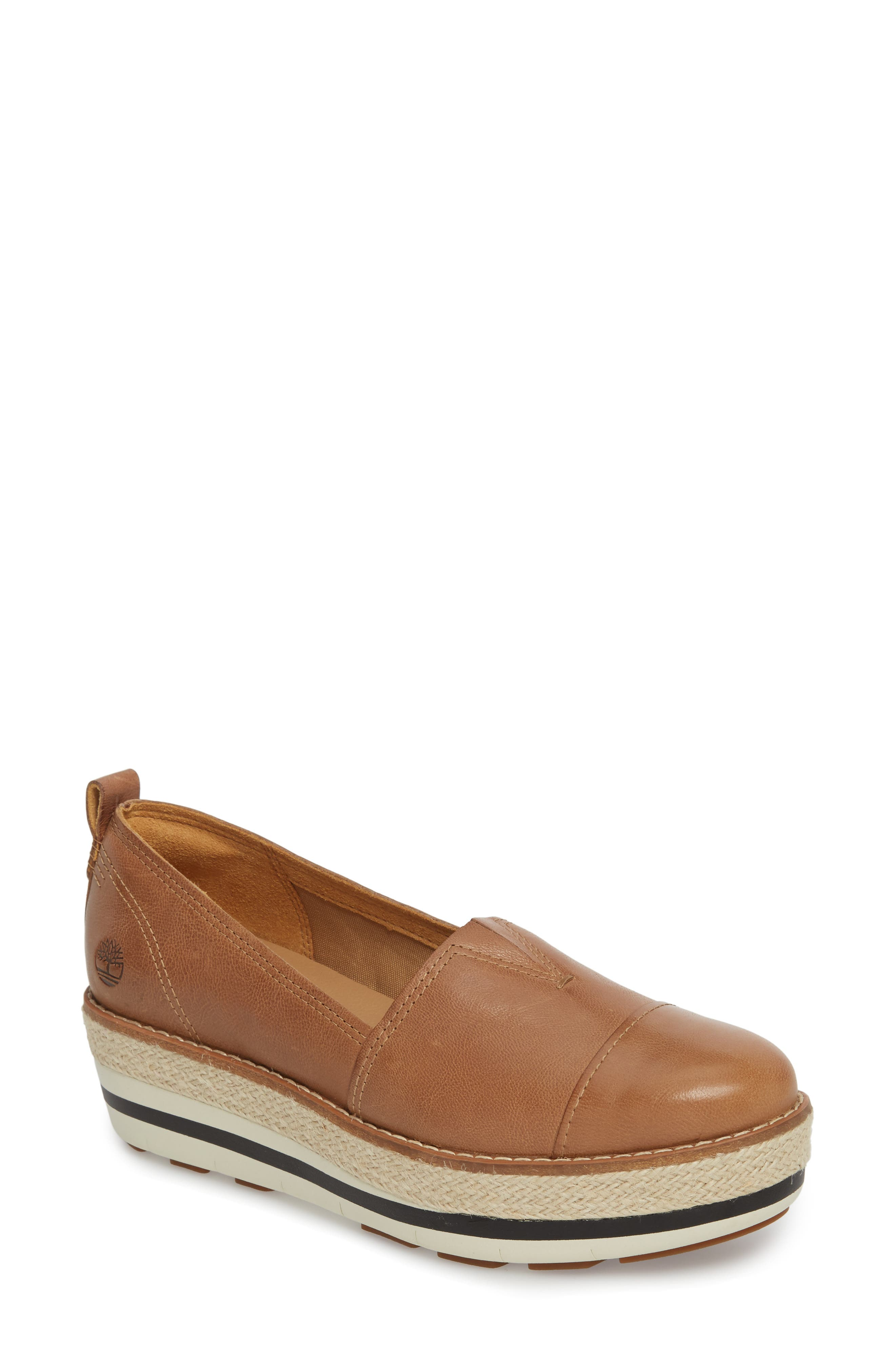 Emerson Platform Slip-On,                             Main thumbnail 1, color,                             Iced Coffee Leather