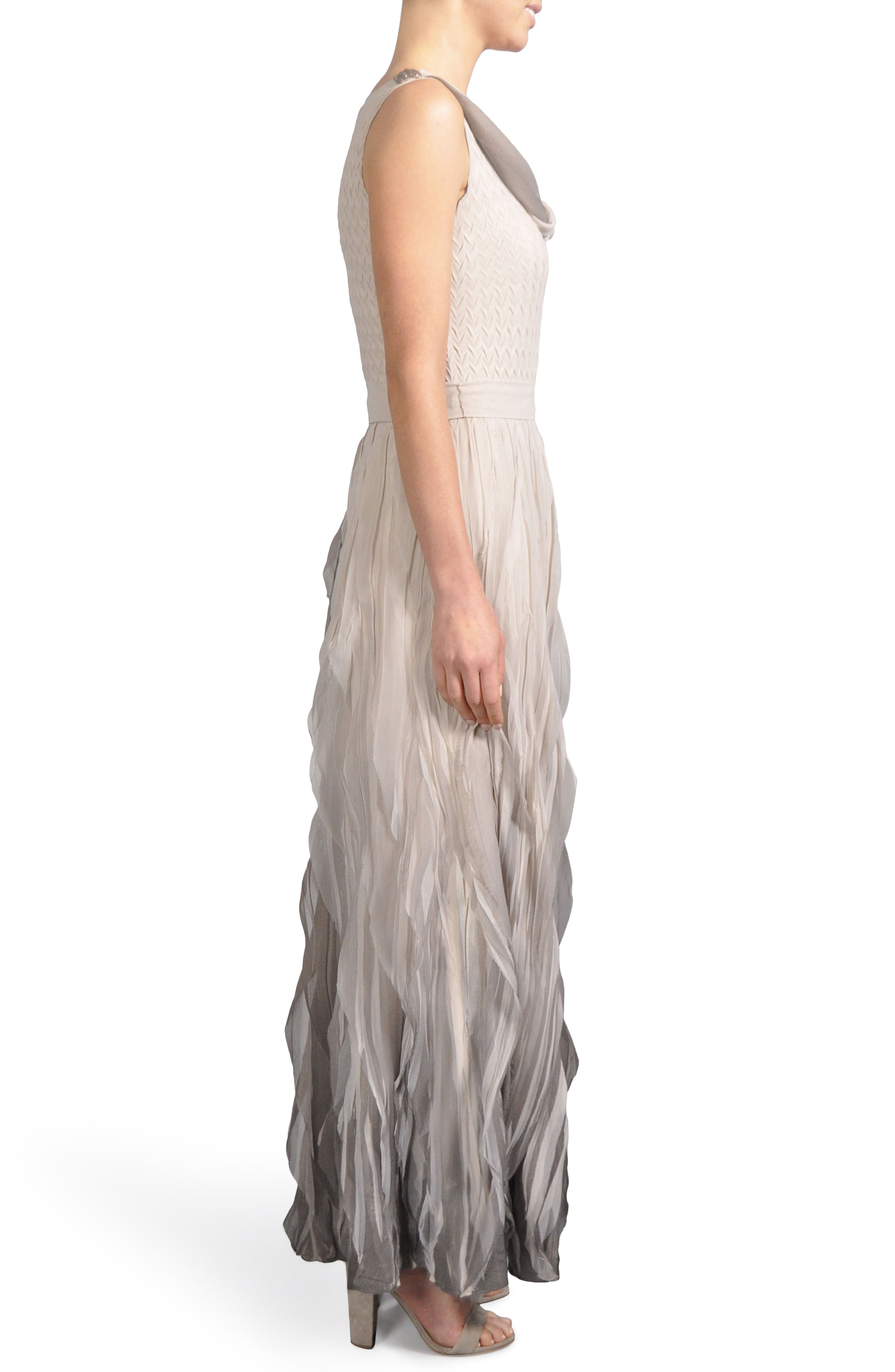 Ombré Cowl Neck Ruffle Gown,                             Alternate thumbnail 3, color,                             Neutral Smoke Ombre