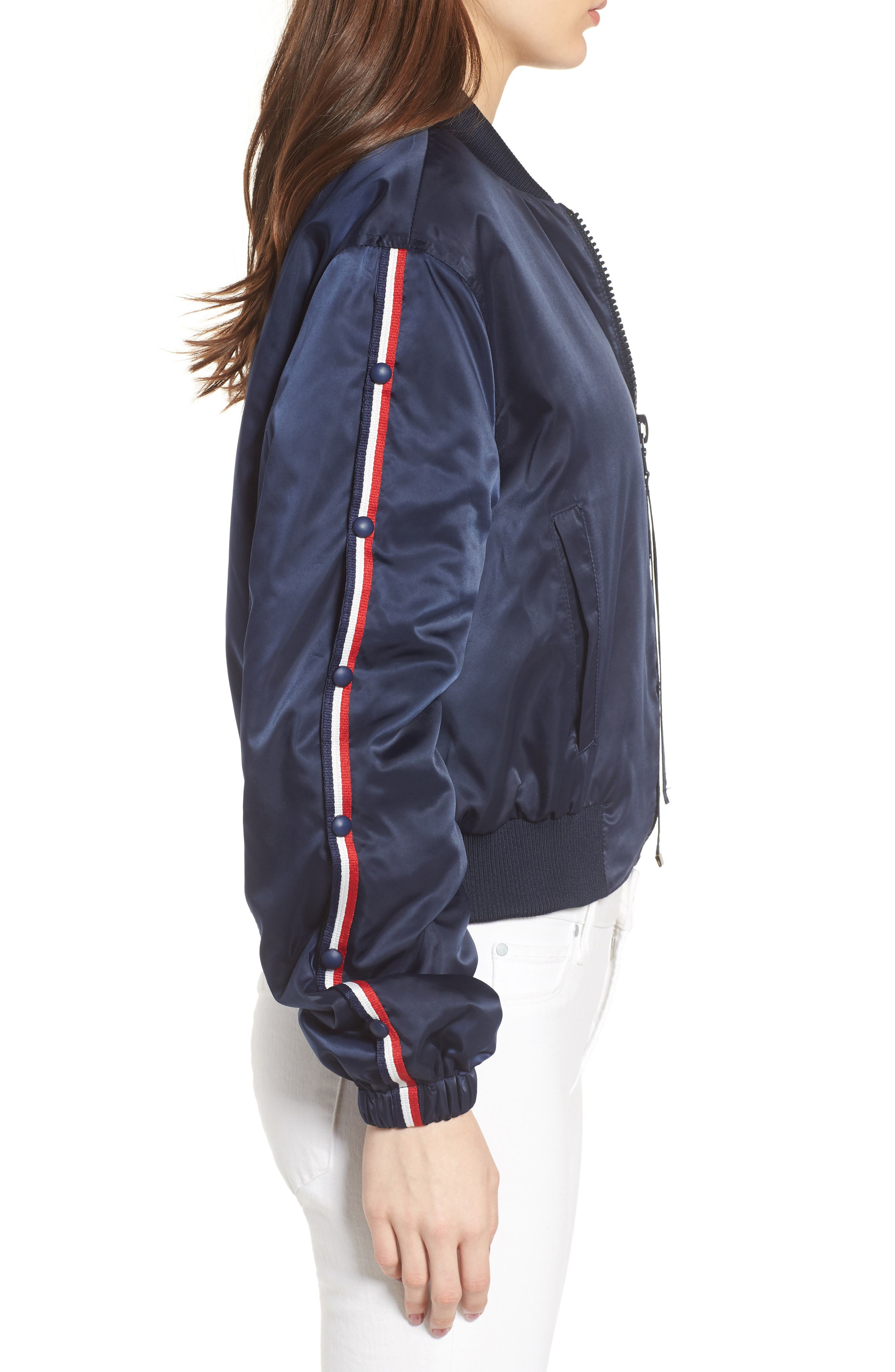 Bomber Jacket,                             Alternate thumbnail 3, color,                             Navy/ Red/ White