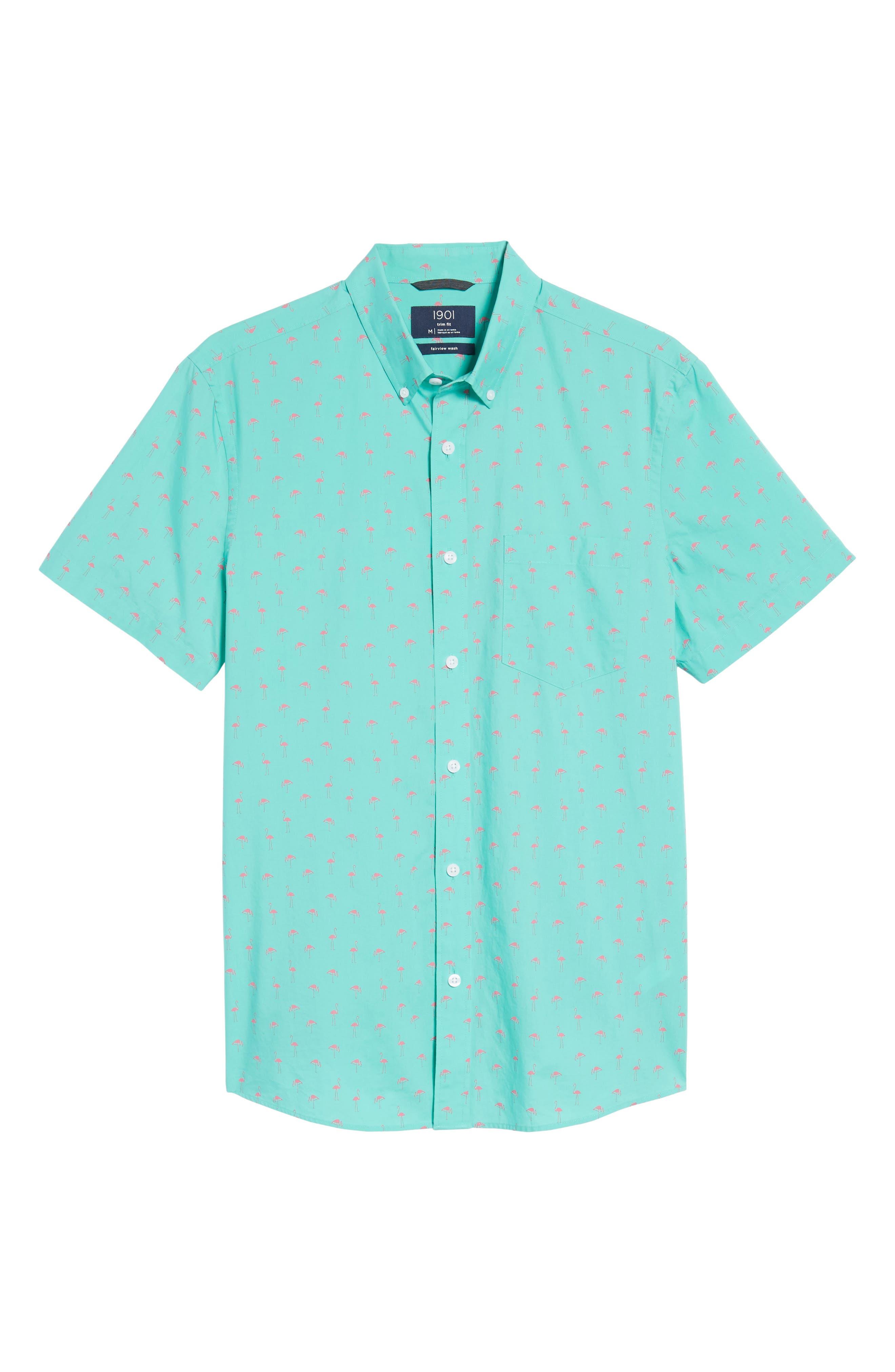 Slim Fit Flamingo Print Sport Shirt,                             Alternate thumbnail 6, color,                             Green Largo Pink Flamingos
