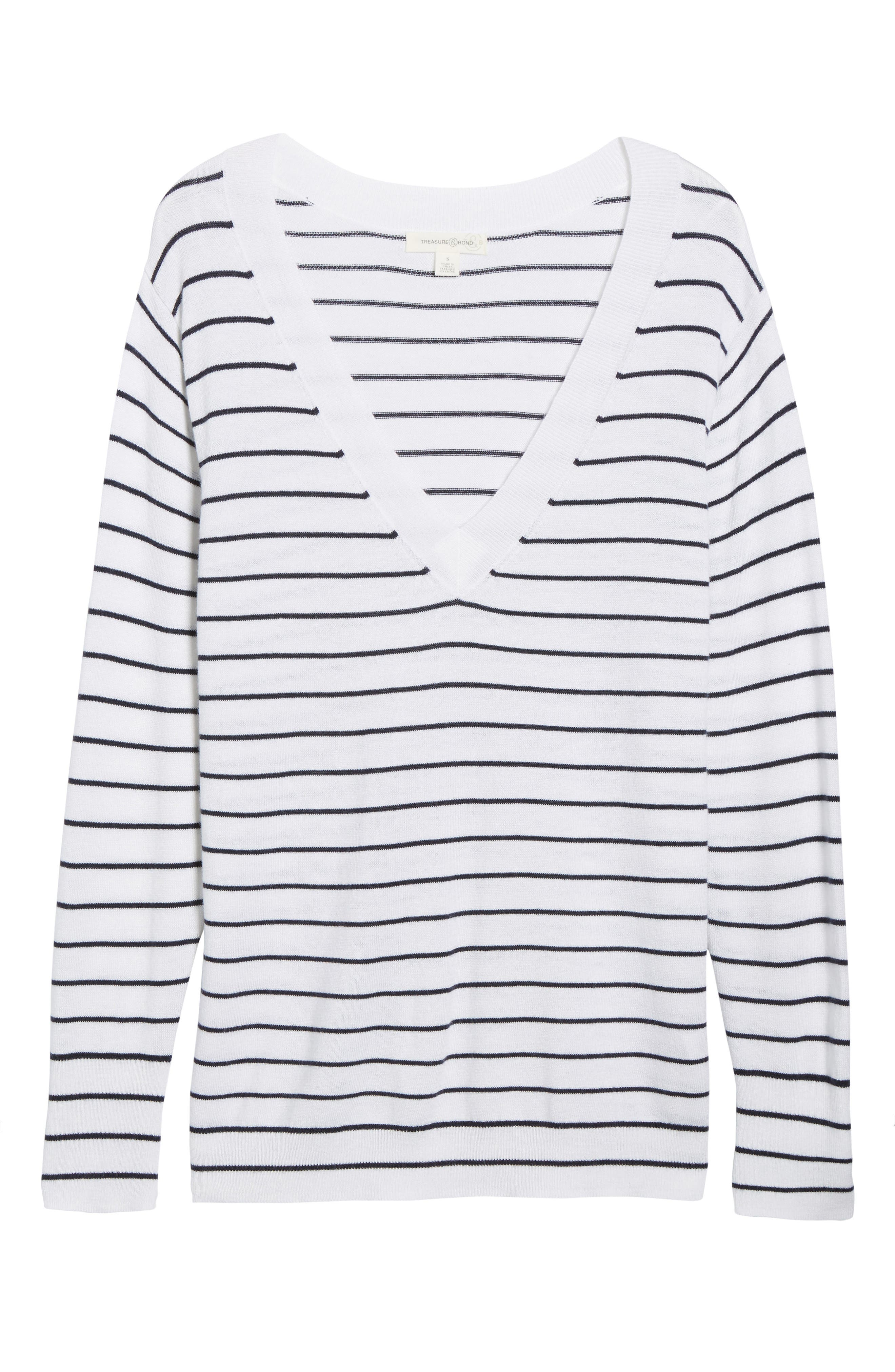 Slouchy Sweater,                             Alternate thumbnail 6, color,                             White Little Stripe